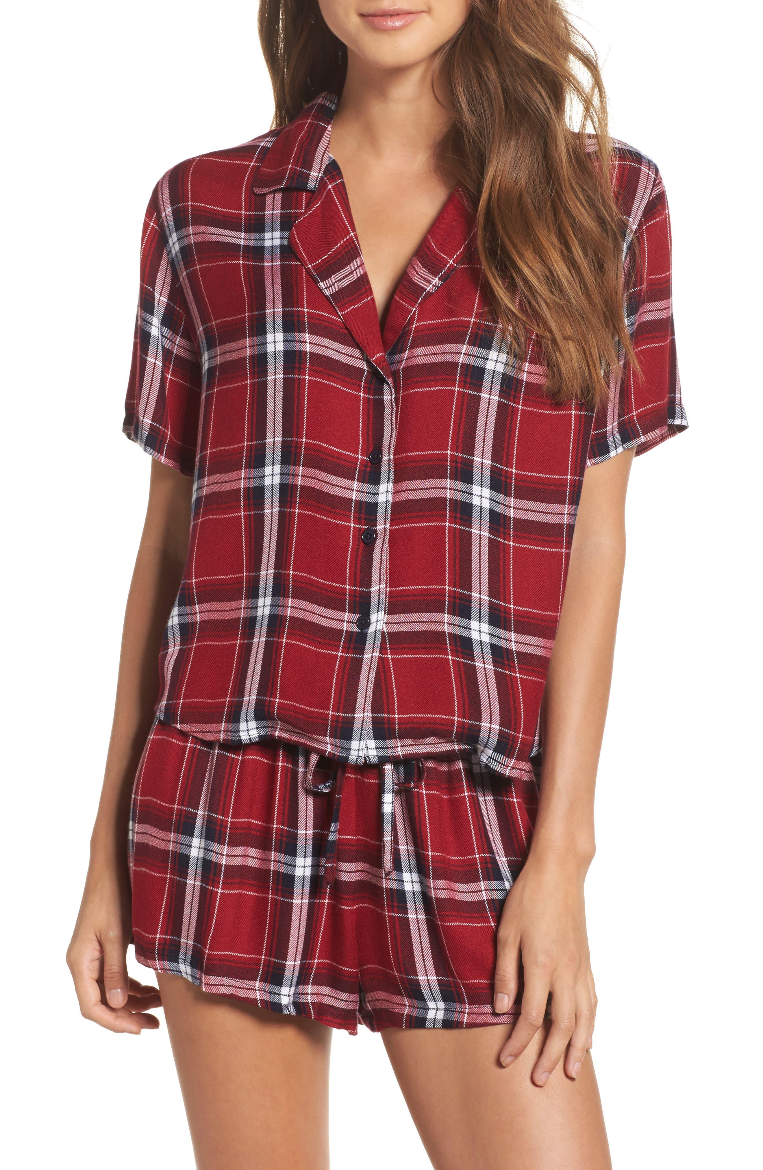 Plaid Short Pajamas,                             Main thumbnail 1, color,                             Crimson/ Navy