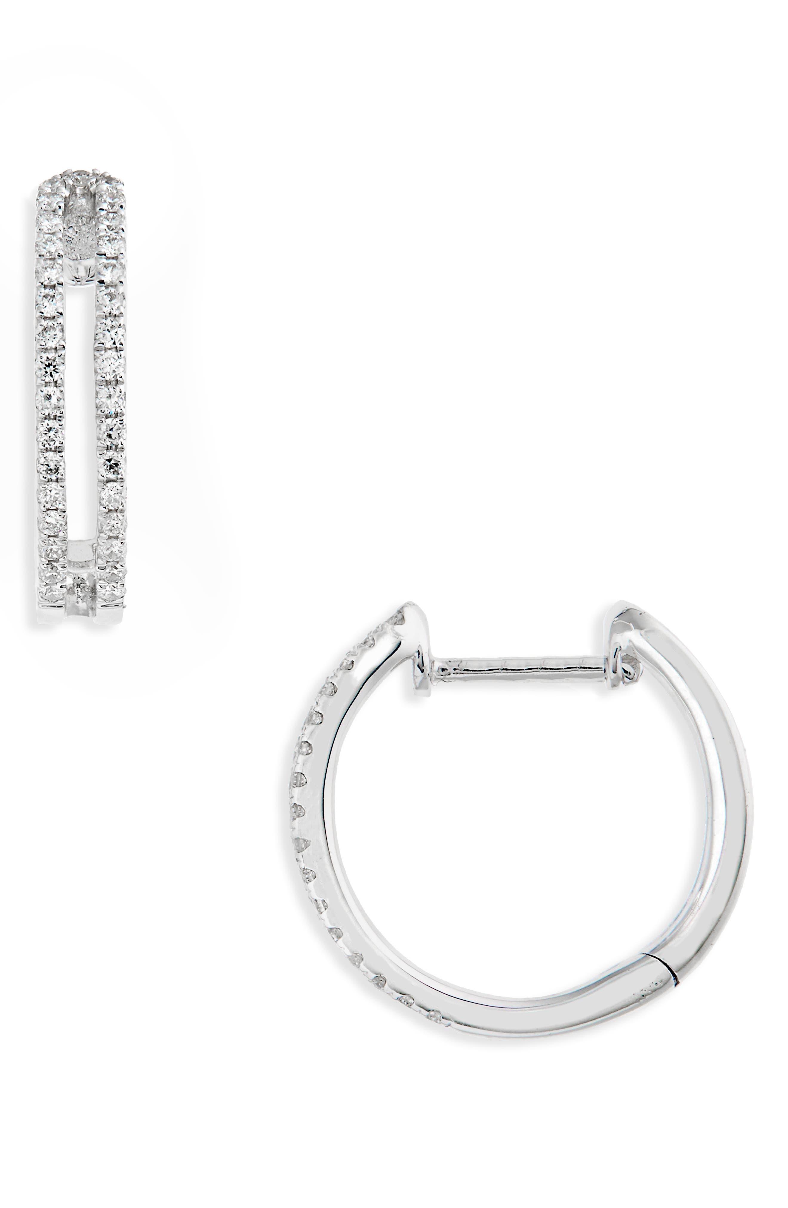 Geo Diamond Hoop Earrings,                         Main,                         color, White Gold