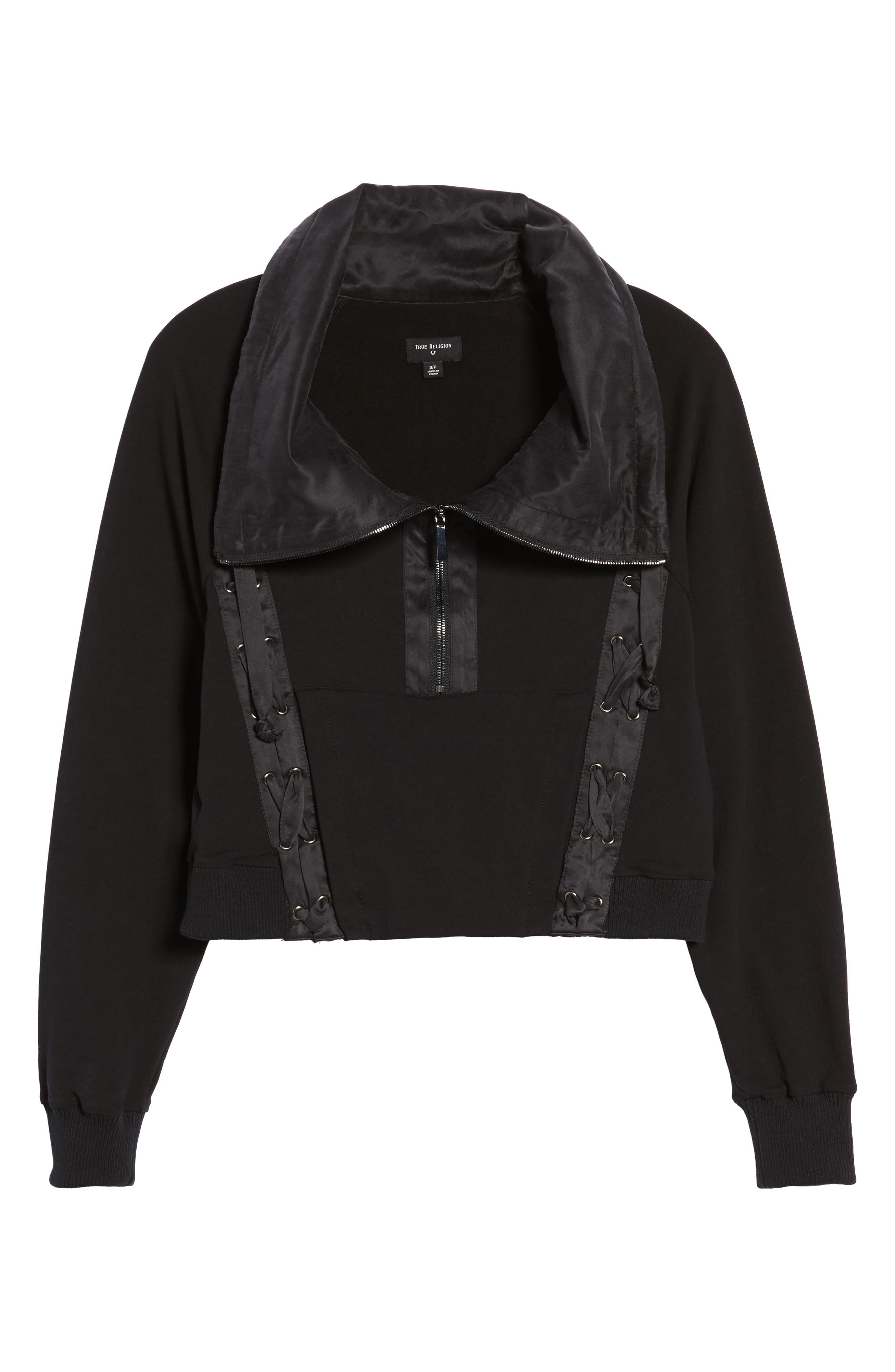 Lace-Up Sweatshirt,                             Alternate thumbnail 6, color,                             Black