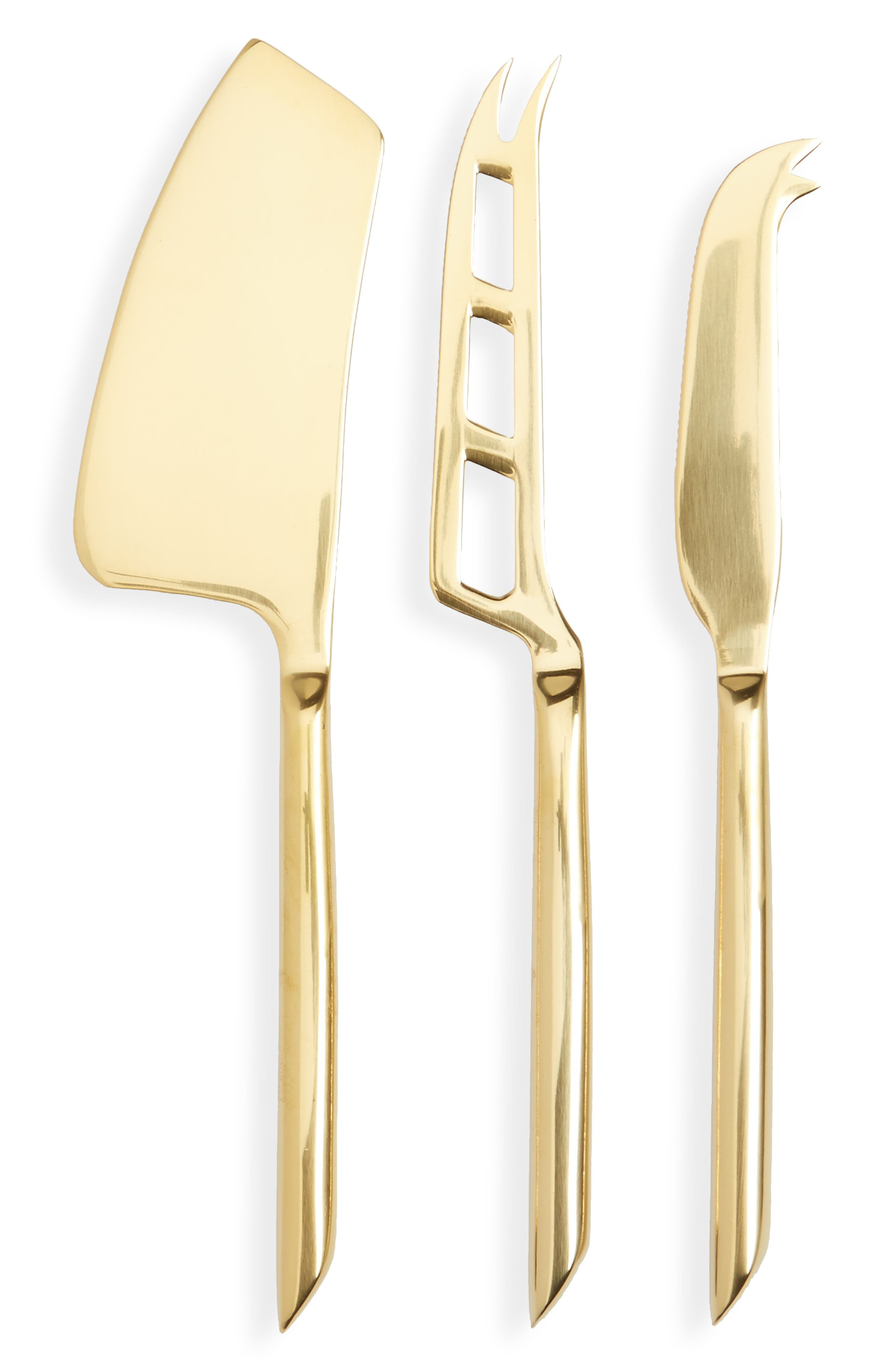 Belmont Set of 3 Cheese Knives,                         Main,                         color, Gold