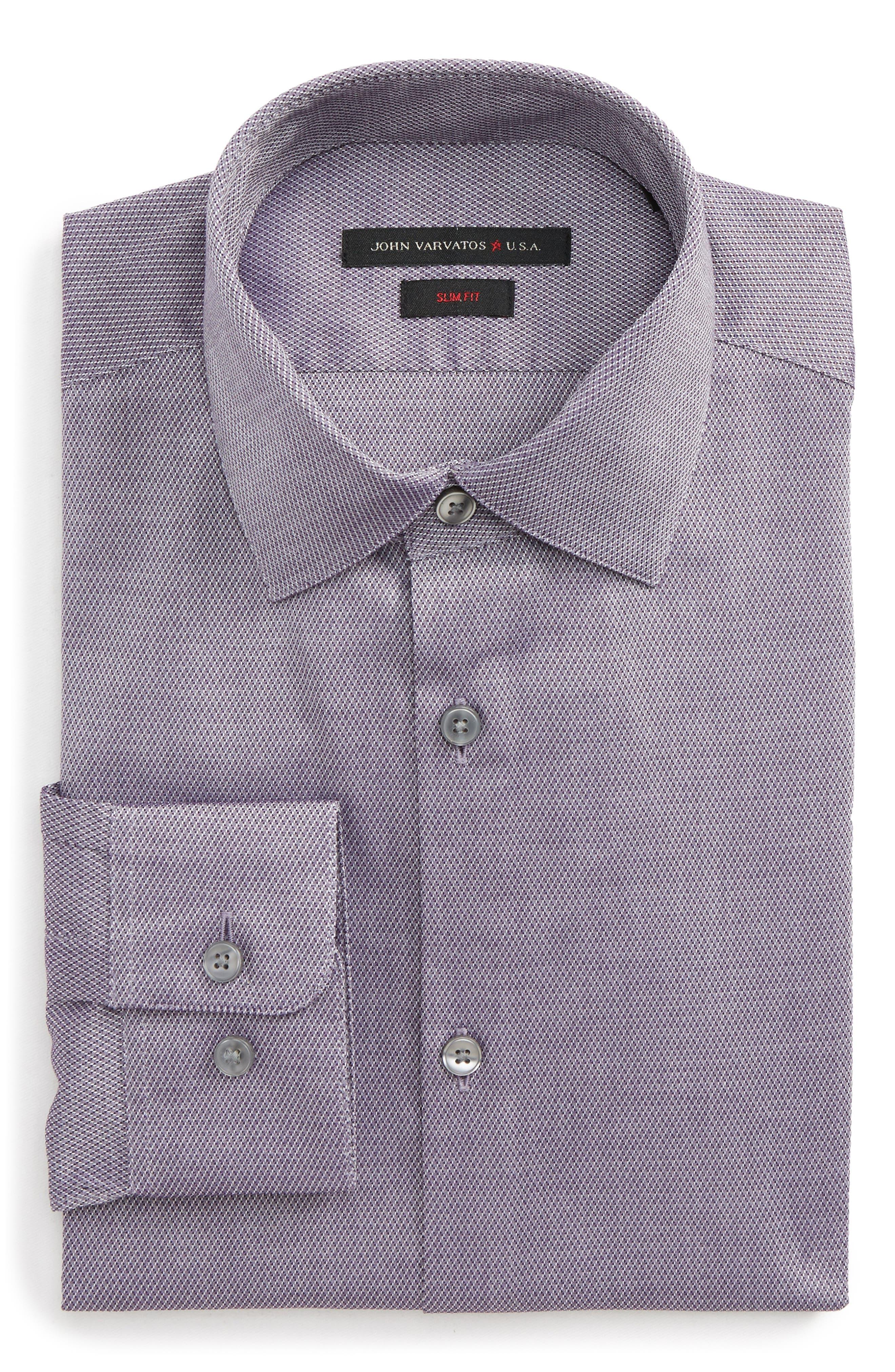Slim Fit Stretch Geometric Dress Shirt,                         Main,                         color, Purple