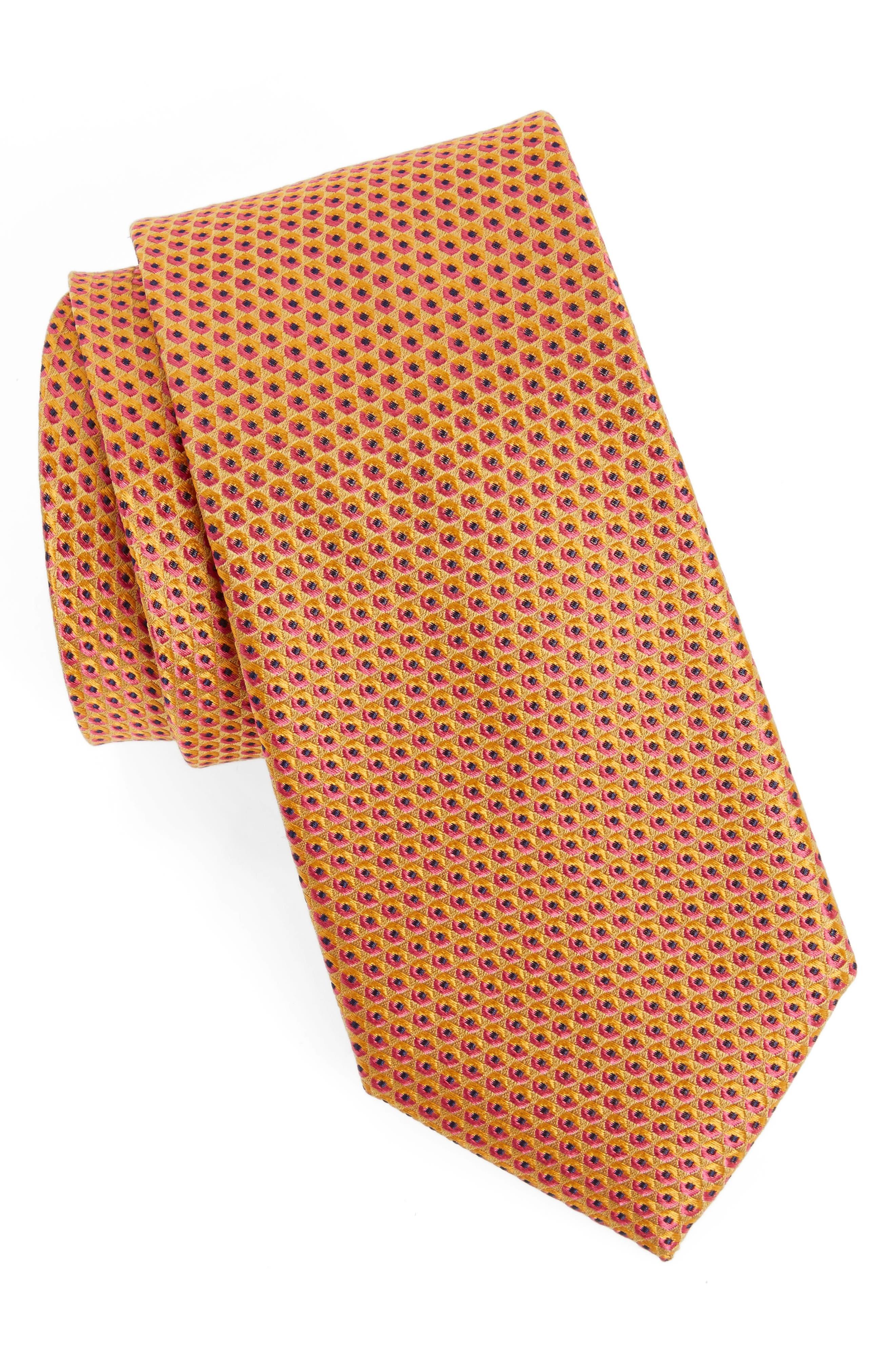 Geometric Silk Tie,                             Main thumbnail 1, color,                             Gold