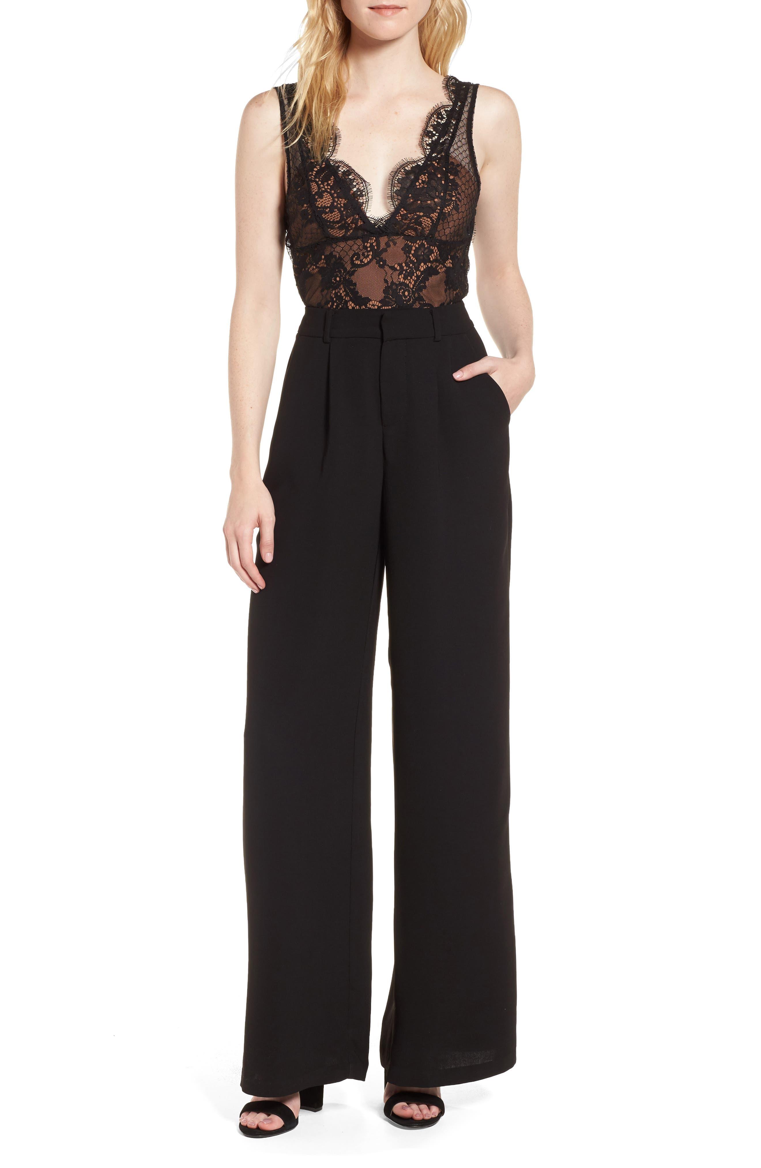 Lace Bodice Jumpsuit,                             Main thumbnail 1, color,                             Black/ Mocha