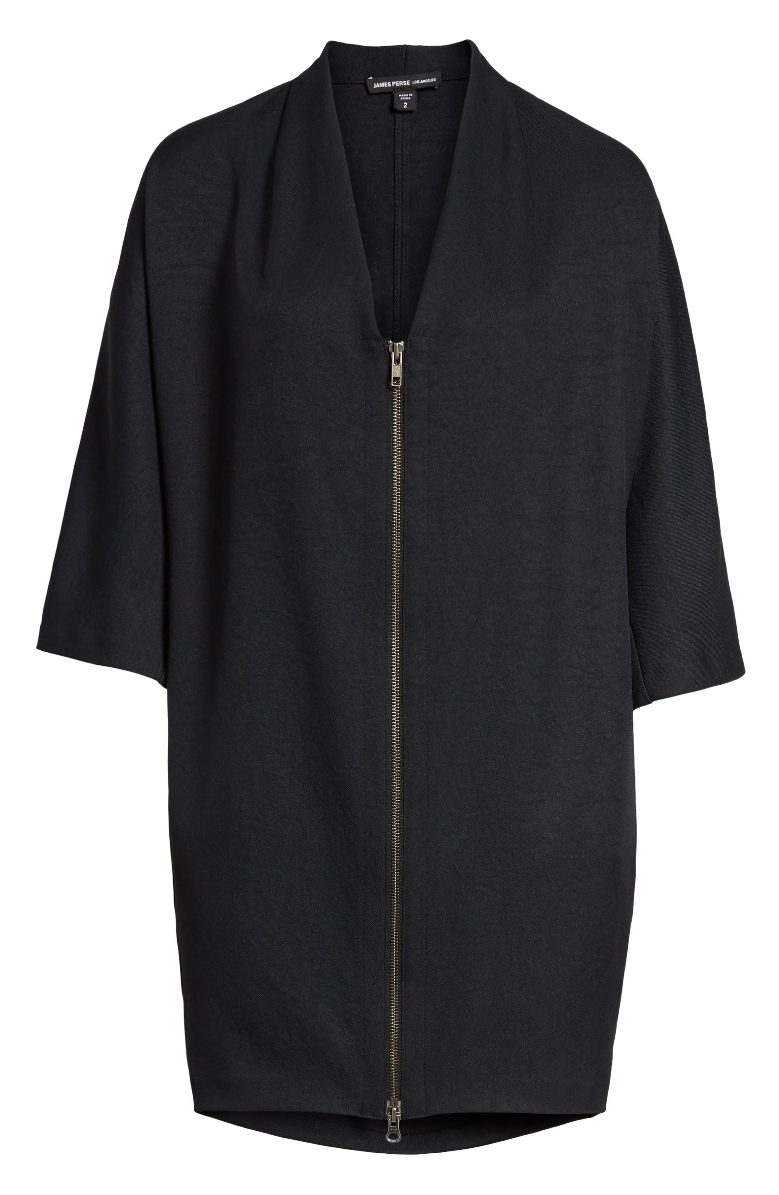 Zip Cocoon Dress,                             Alternate thumbnail 6, color,                             Black