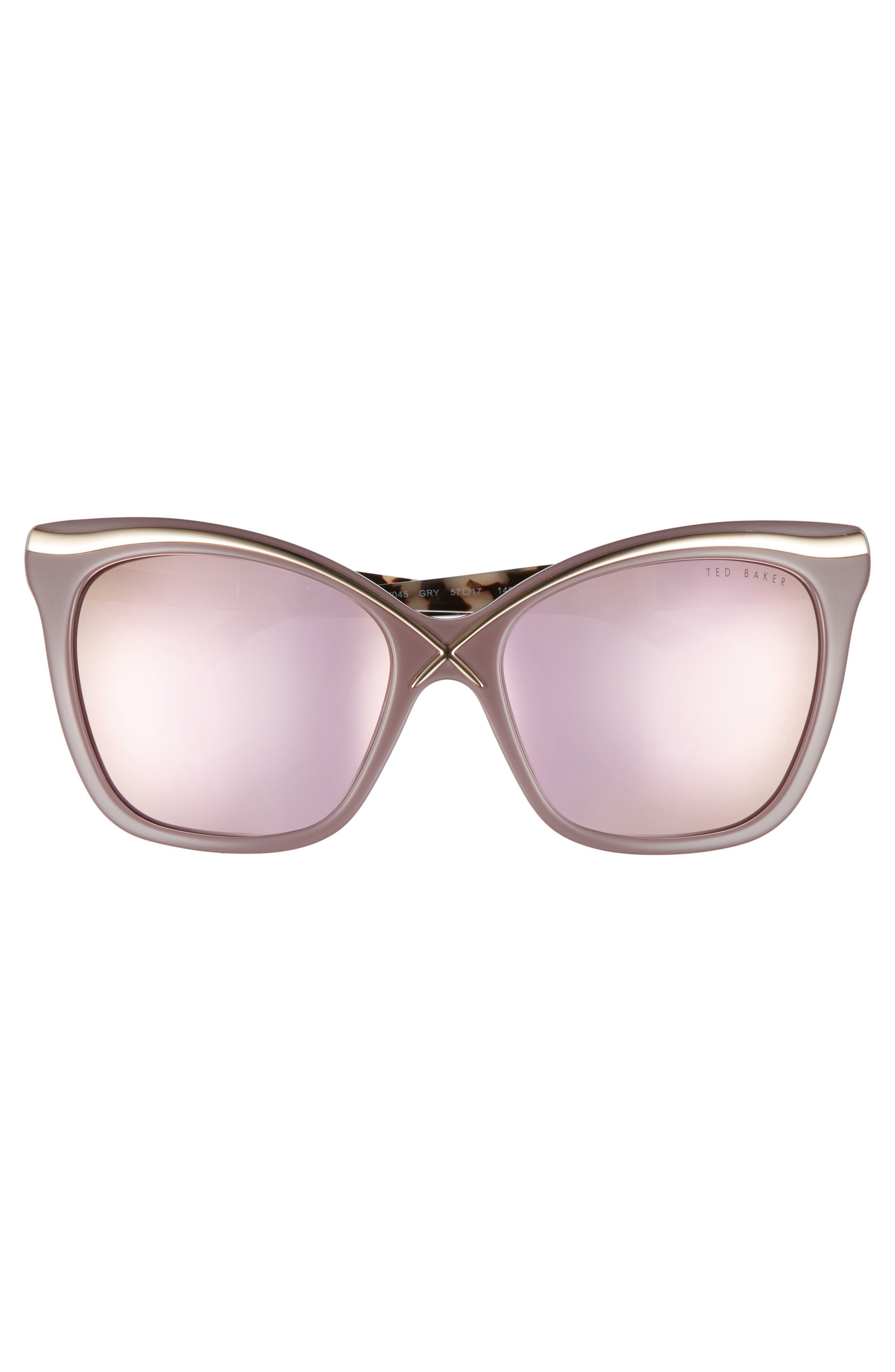 57mm Square Cat Eye Sunglasses,                             Alternate thumbnail 3, color,                             Grey