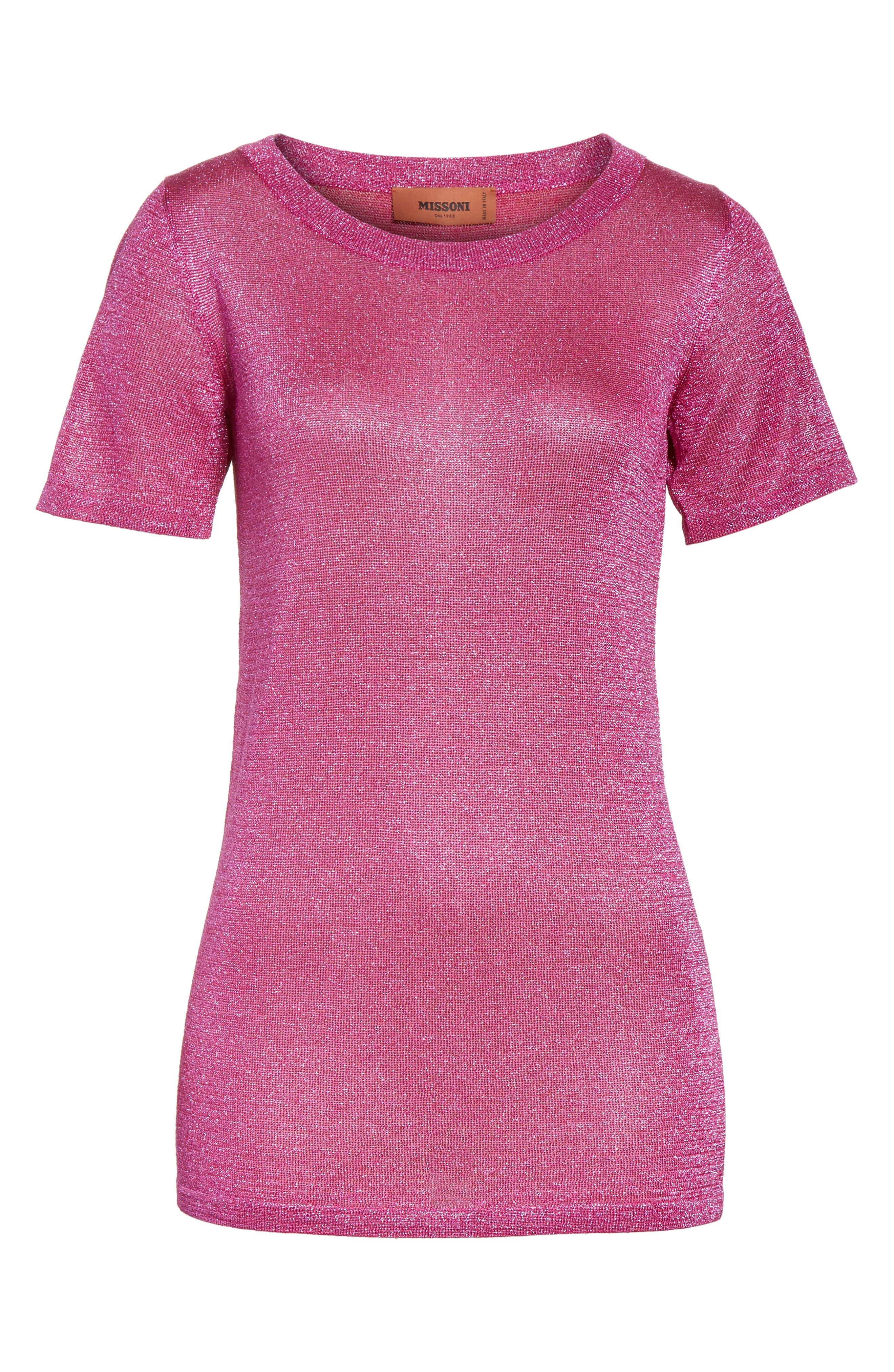 Metallic Knit Tee,                             Alternate thumbnail 6, color,                             Pink