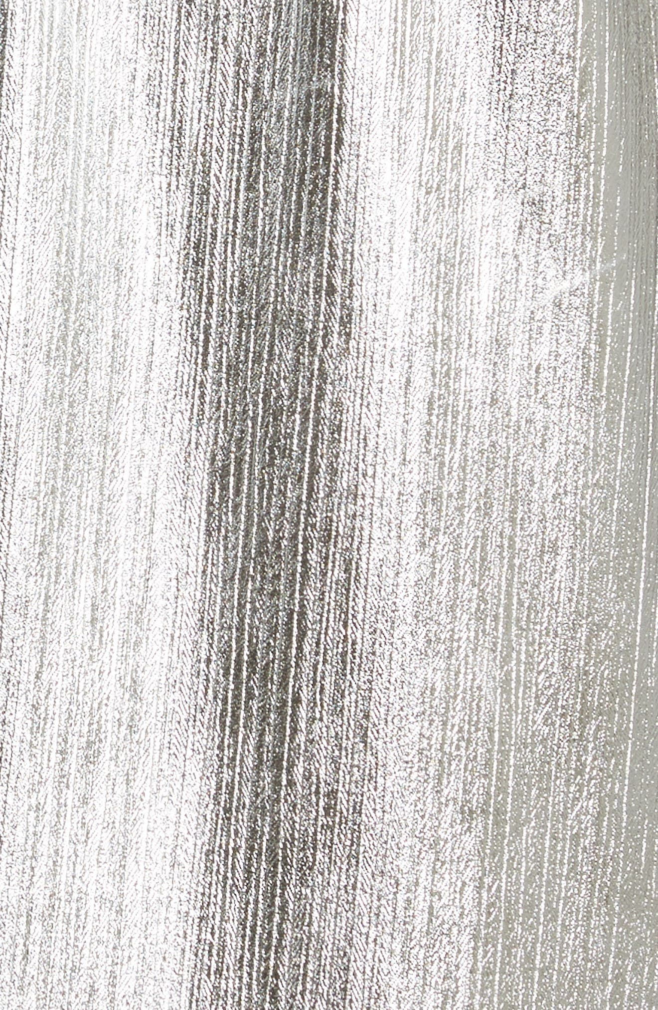 Long Metallic Chiffon Parka,                             Alternate thumbnail 4, color,                             Silver