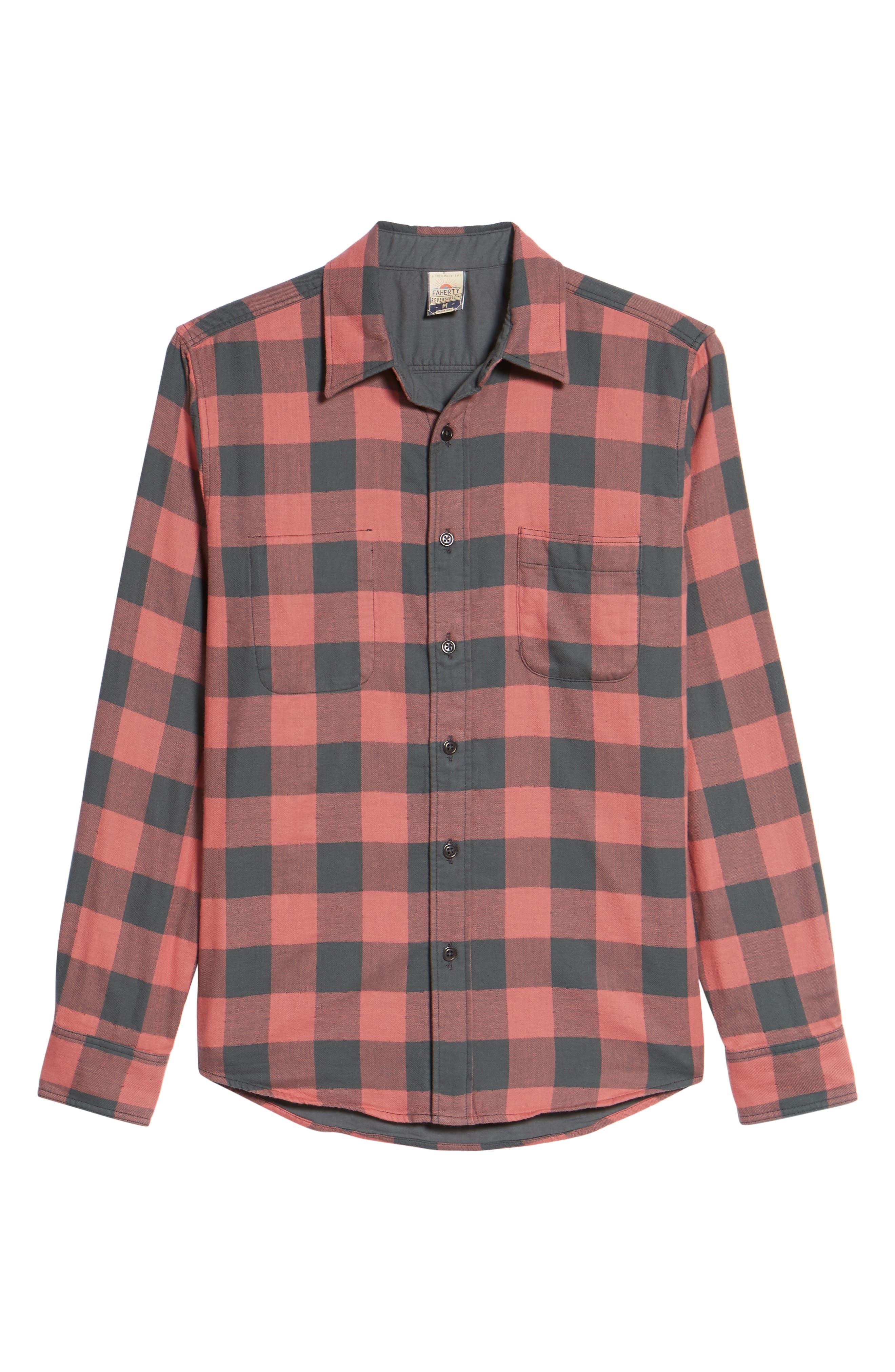 Belmar Trim Fit Long Sleeve Reversible Sport Shirt,                             Alternate thumbnail 6, color,                             Grey / Red Buffalo Check