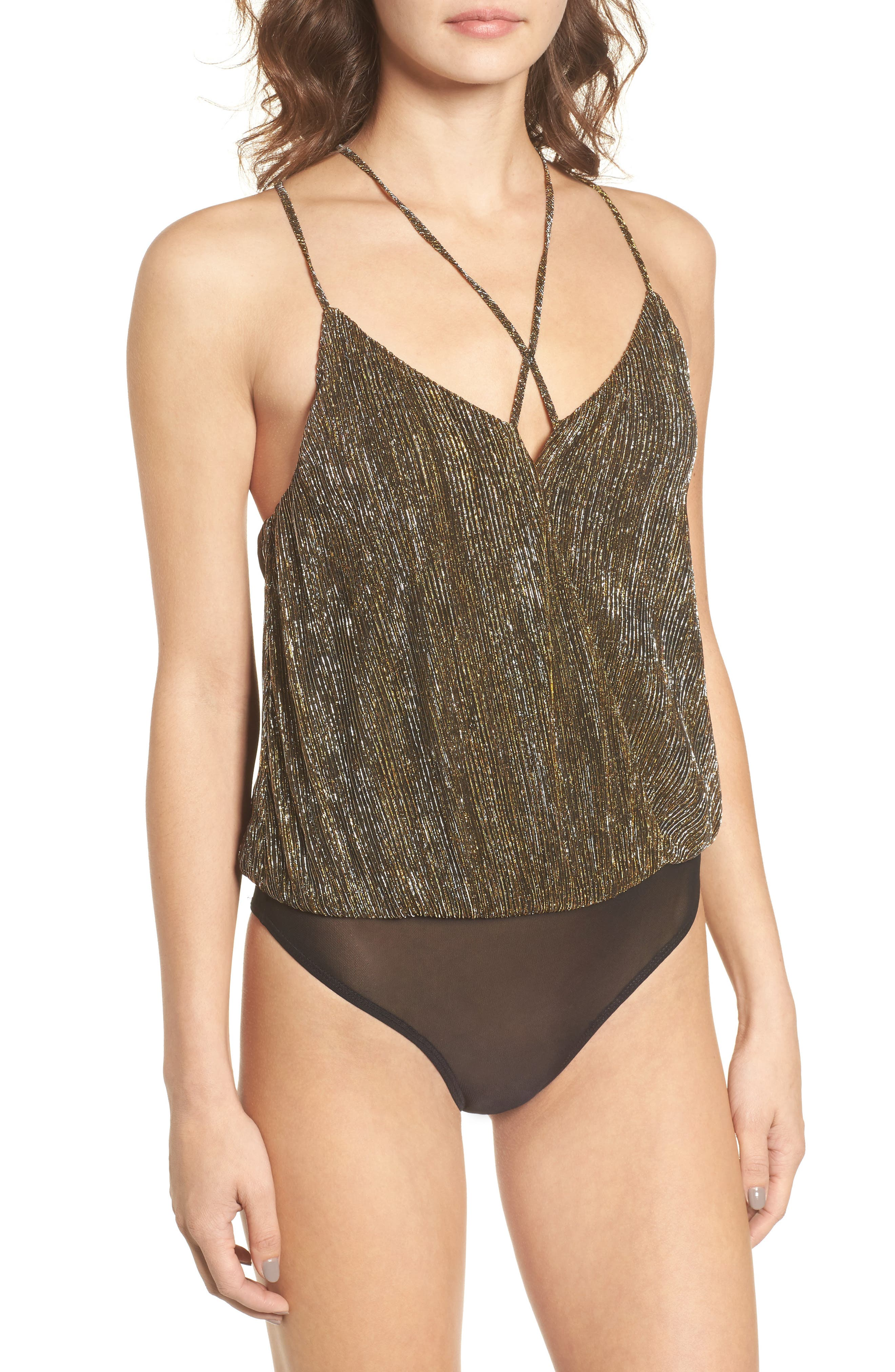 Strappy Metallic Bodysuit,                             Alternate thumbnail 4, color,                             Gold