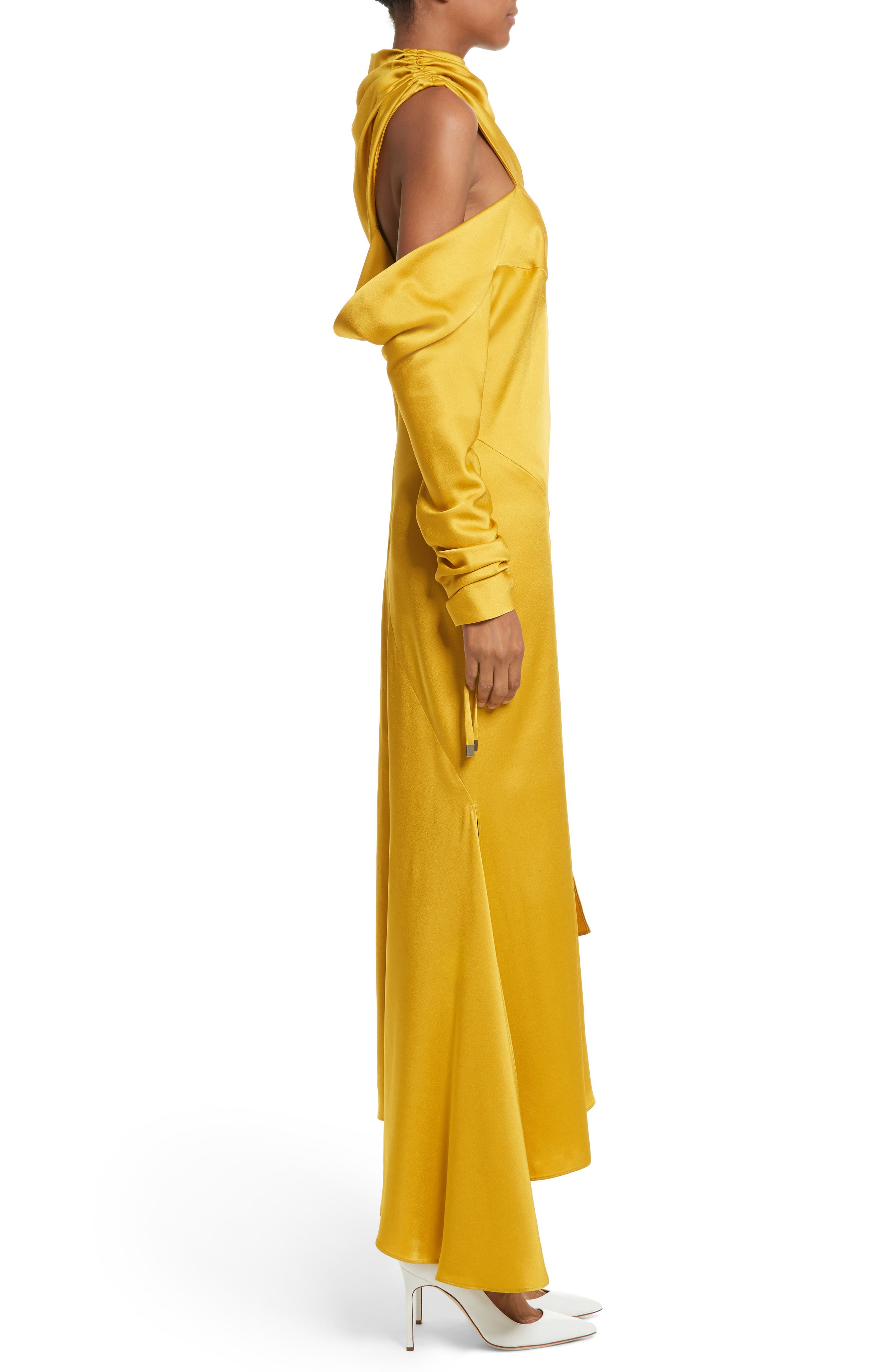 Crepe Back Satin Cold Shoulder Dress,                             Alternate thumbnail 5, color,                             Yellow
