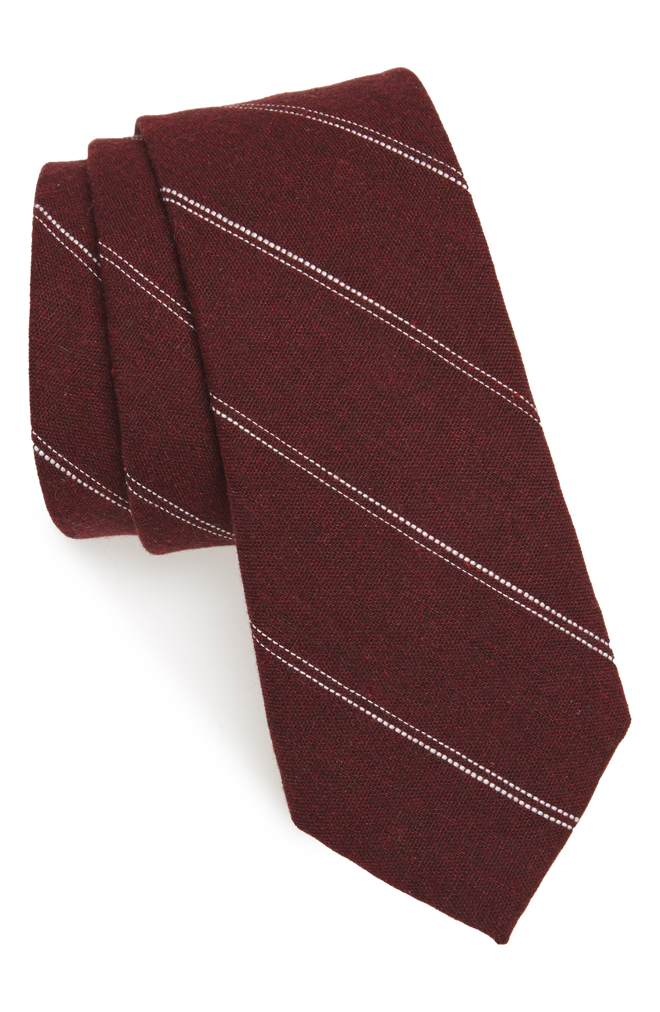 Nordstrom Men's Shop Palamino Stripe Cotton & Linen Skinny Tie