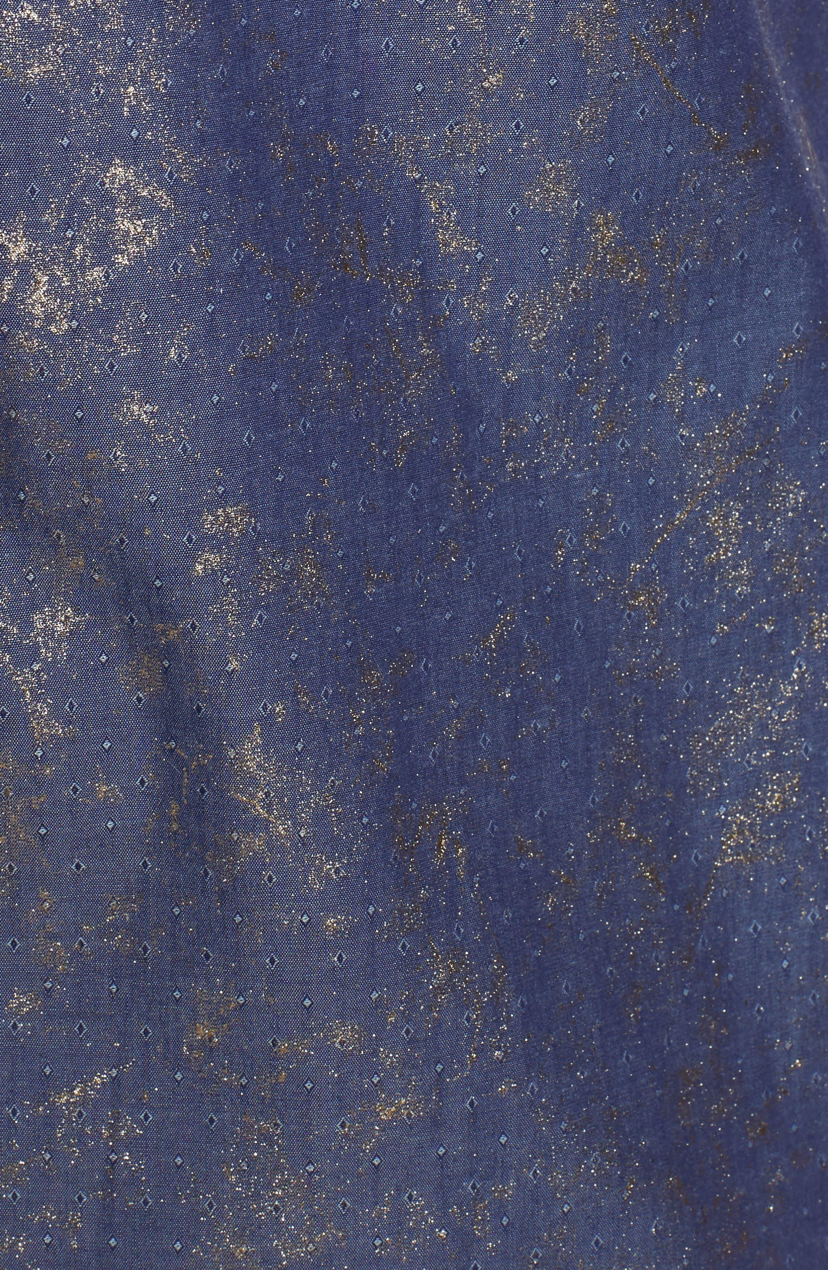 Stardust Diamond Regular Fit Foil Print Sport Shirt,                             Alternate thumbnail 5, color,                             Indigo