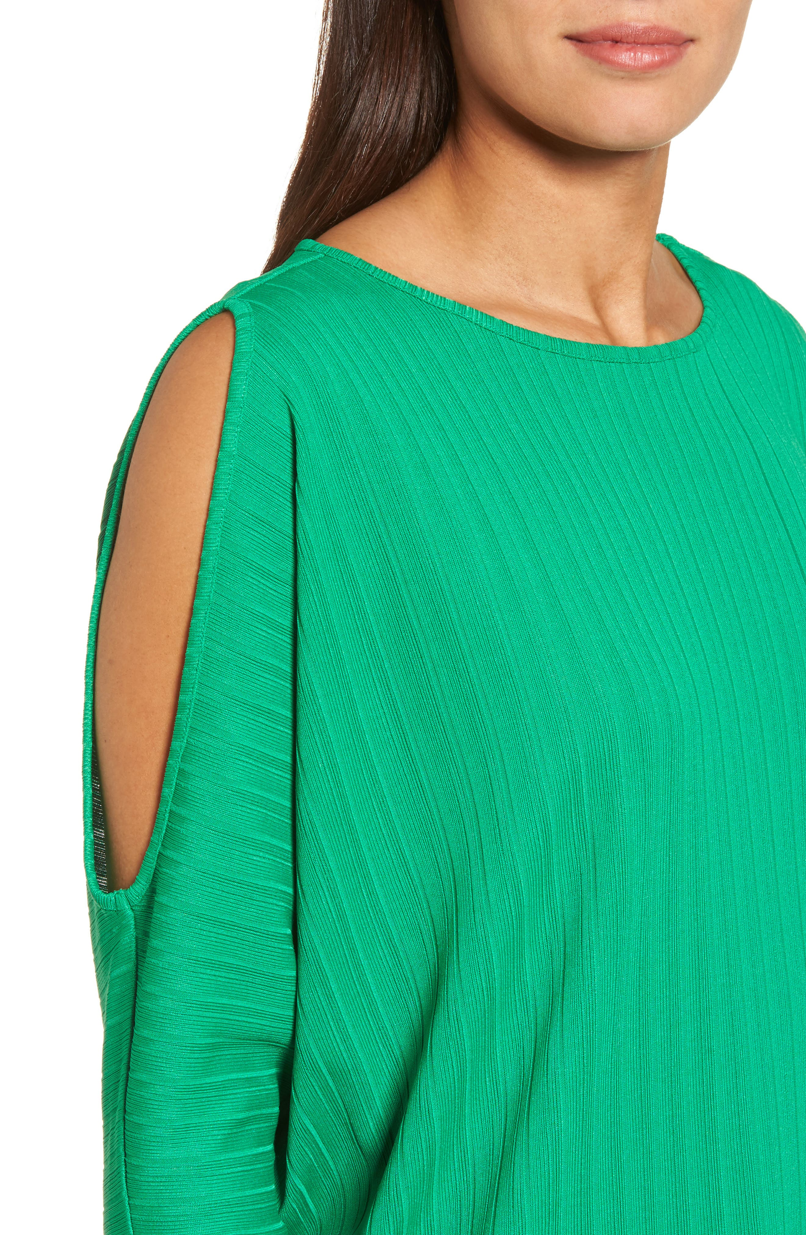 Ribbed Knit Cold Shoulder Top,                             Alternate thumbnail 4, color,                             Bright Amazon