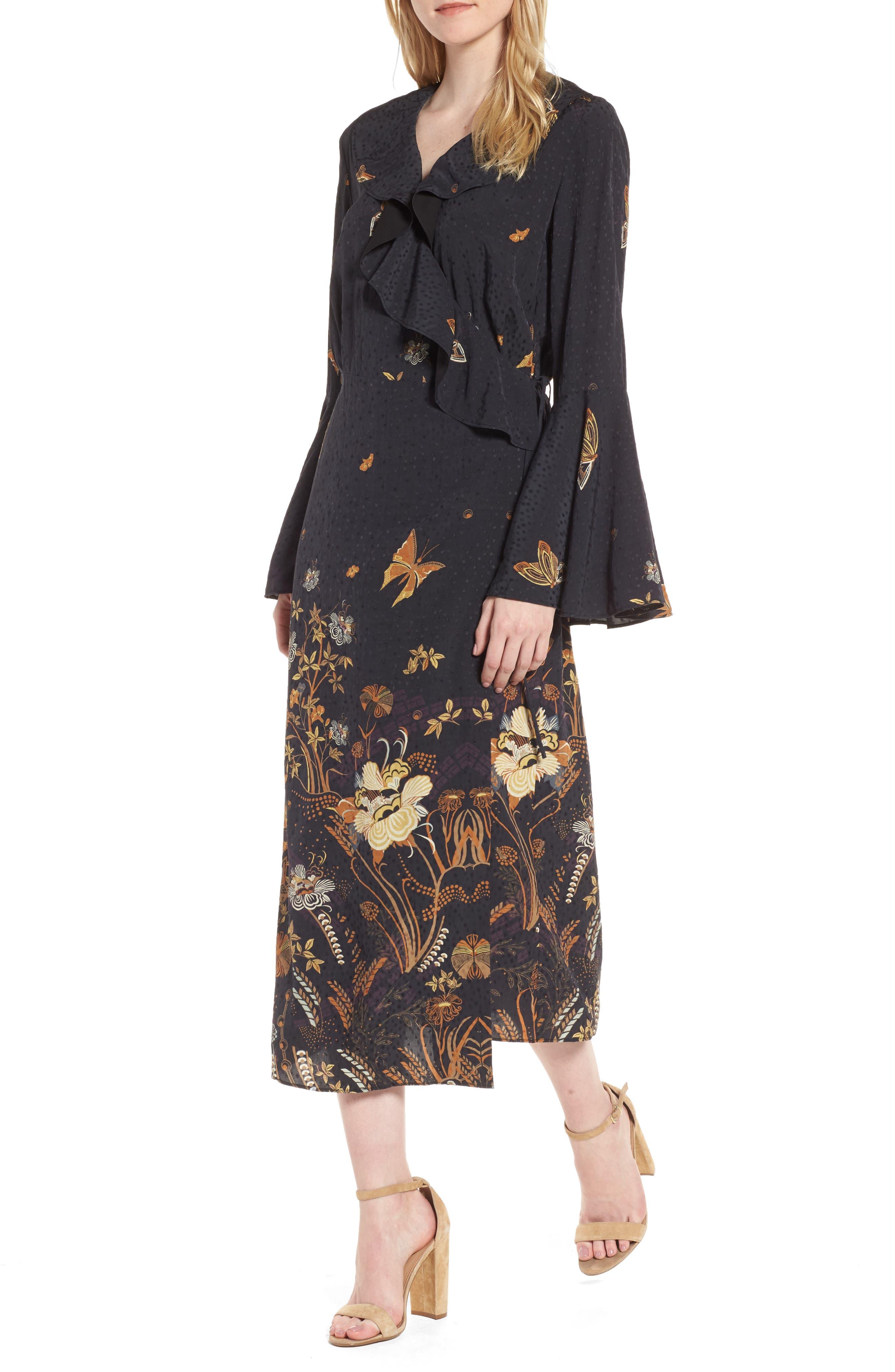 Jacquard Midi Wrap Dress,                             Main thumbnail 1, color,                             Black Decorative Scenery Print