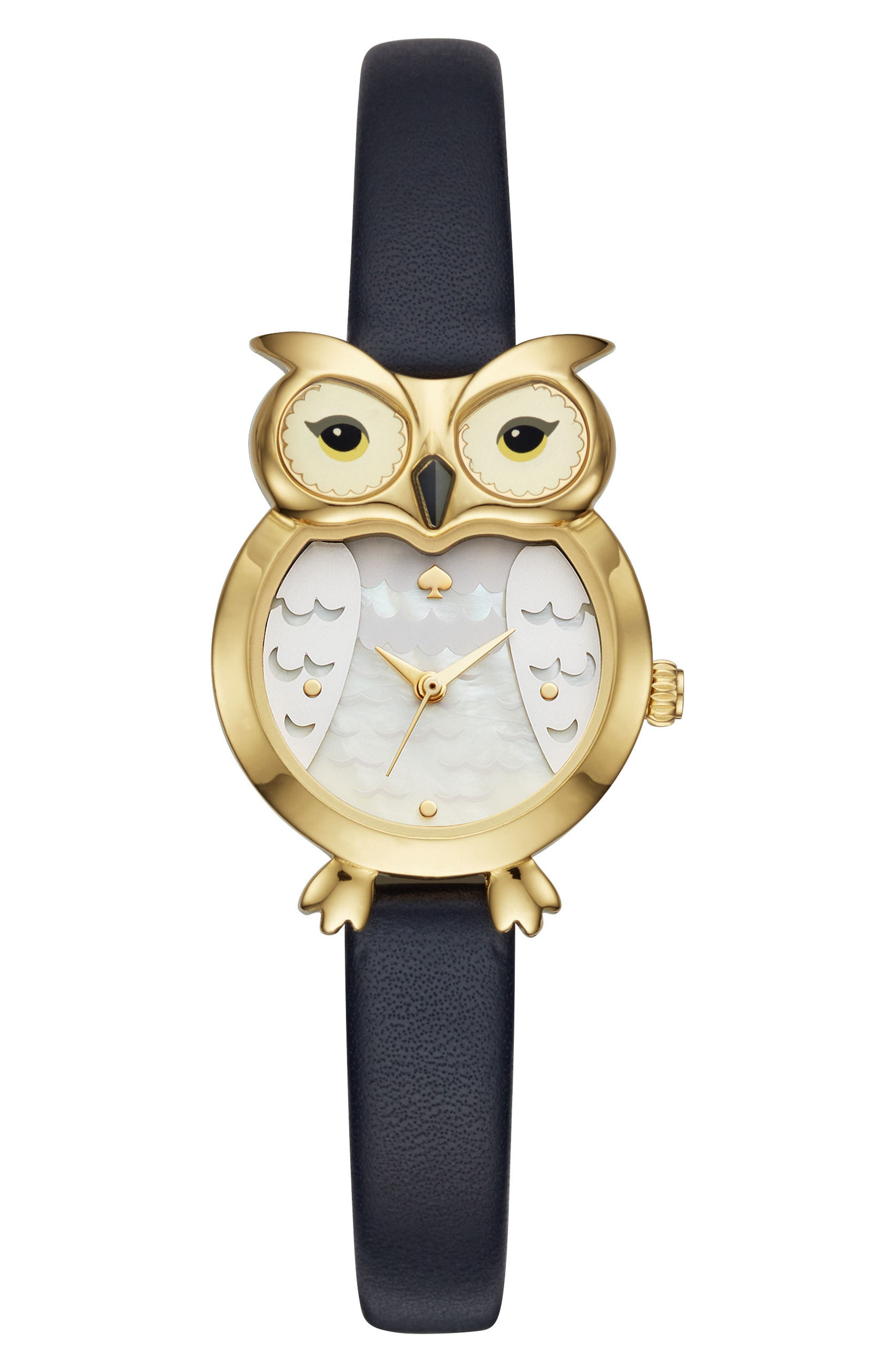 owl leather strap watch, 26mm,                         Main,                         color, Black/ Mop/ Gold