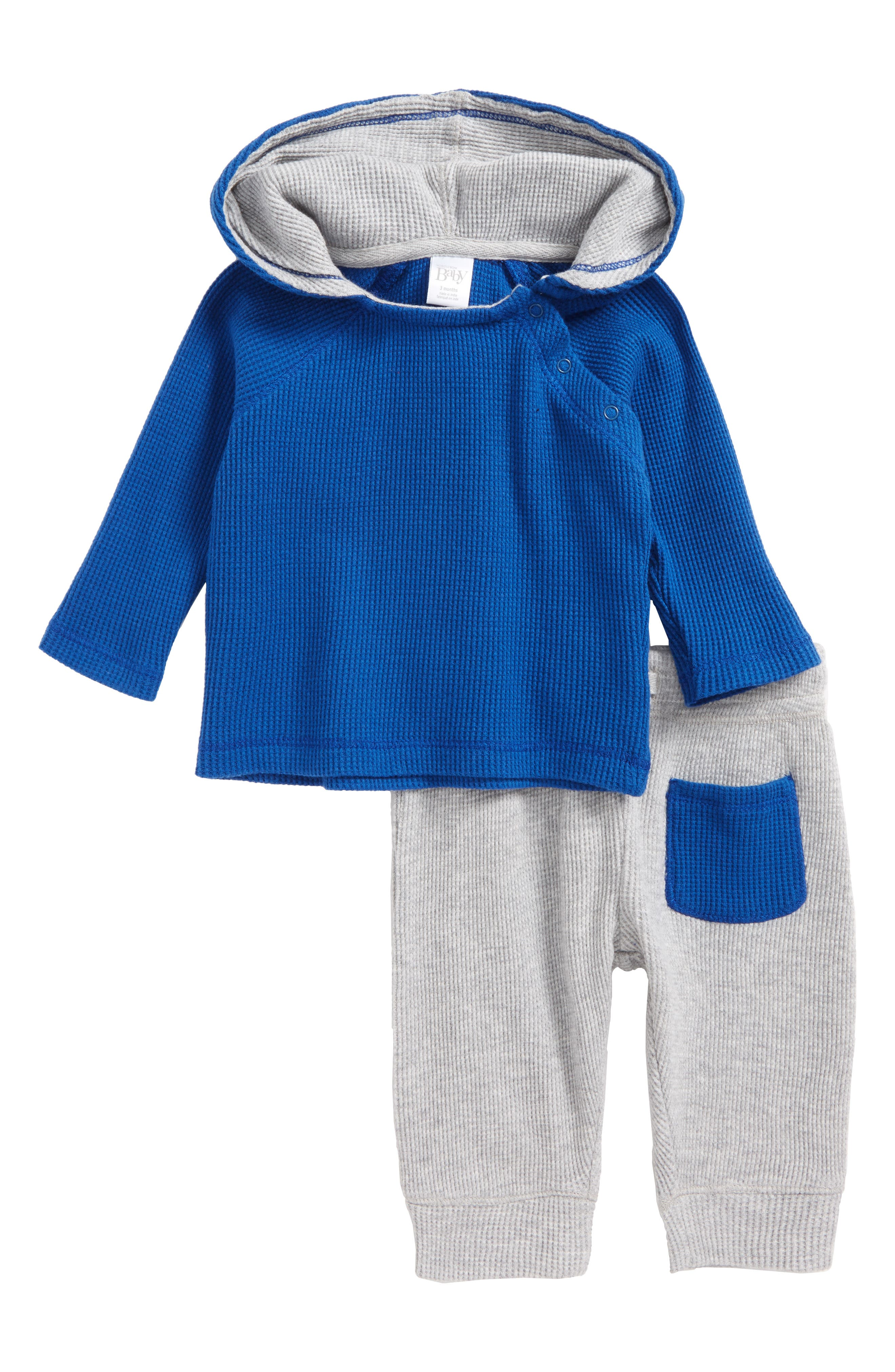 Thermal Hooded T-Shirt & Pants Set,                         Main,                         color, Blue True- Grey