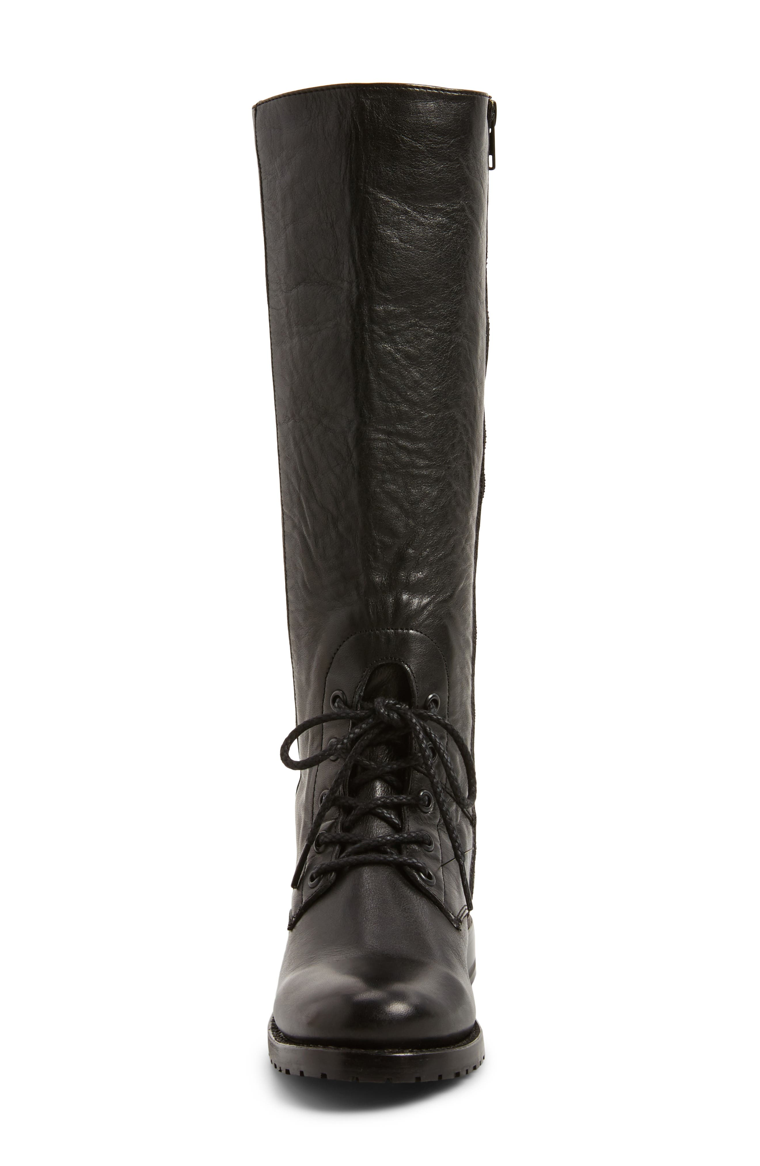 Natalie Knee High Combat Boot,                             Alternate thumbnail 4, color,                             Black