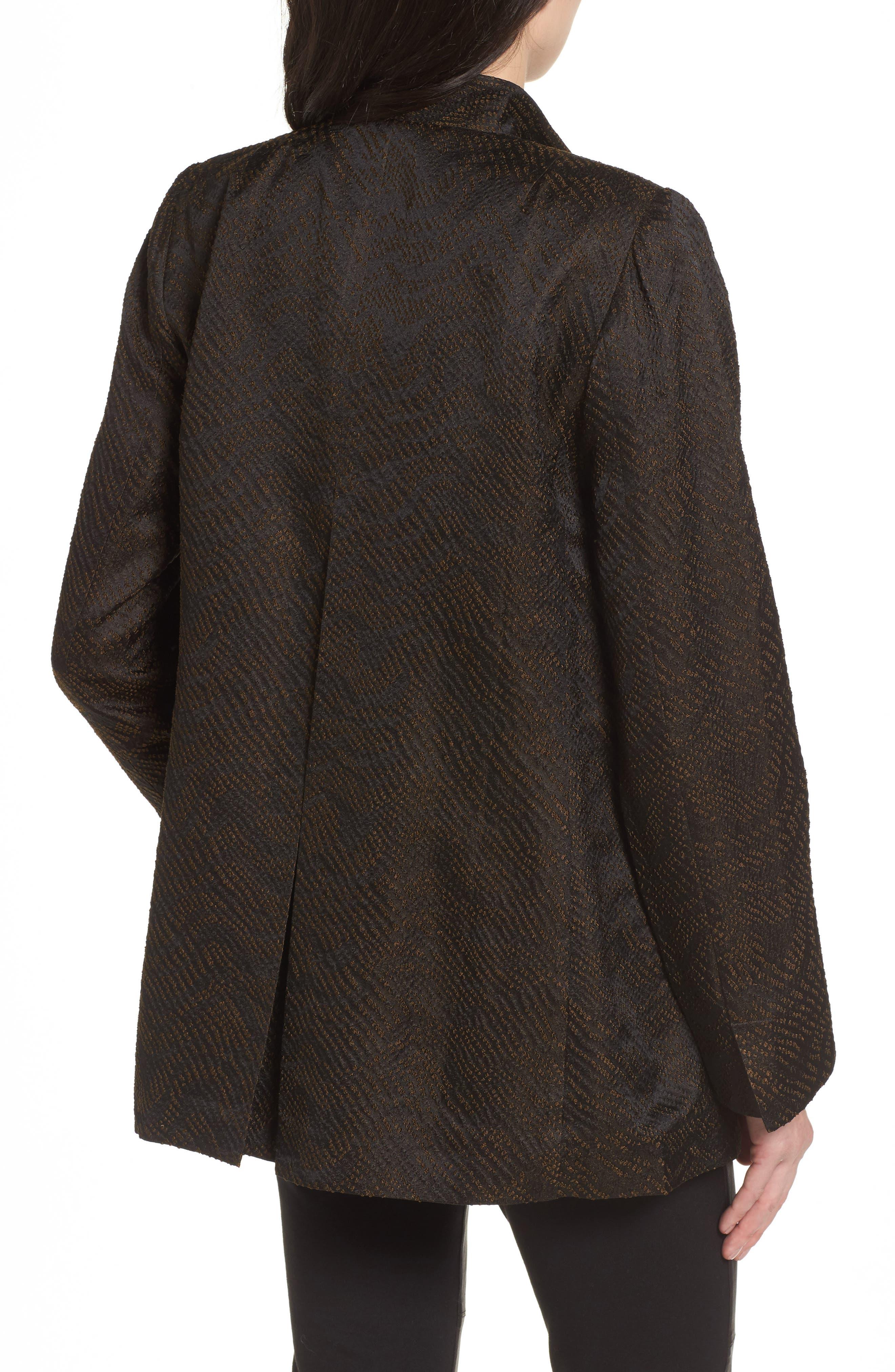 Silk Blend Jacquard Jacket,                             Alternate thumbnail 2, color,                             Black