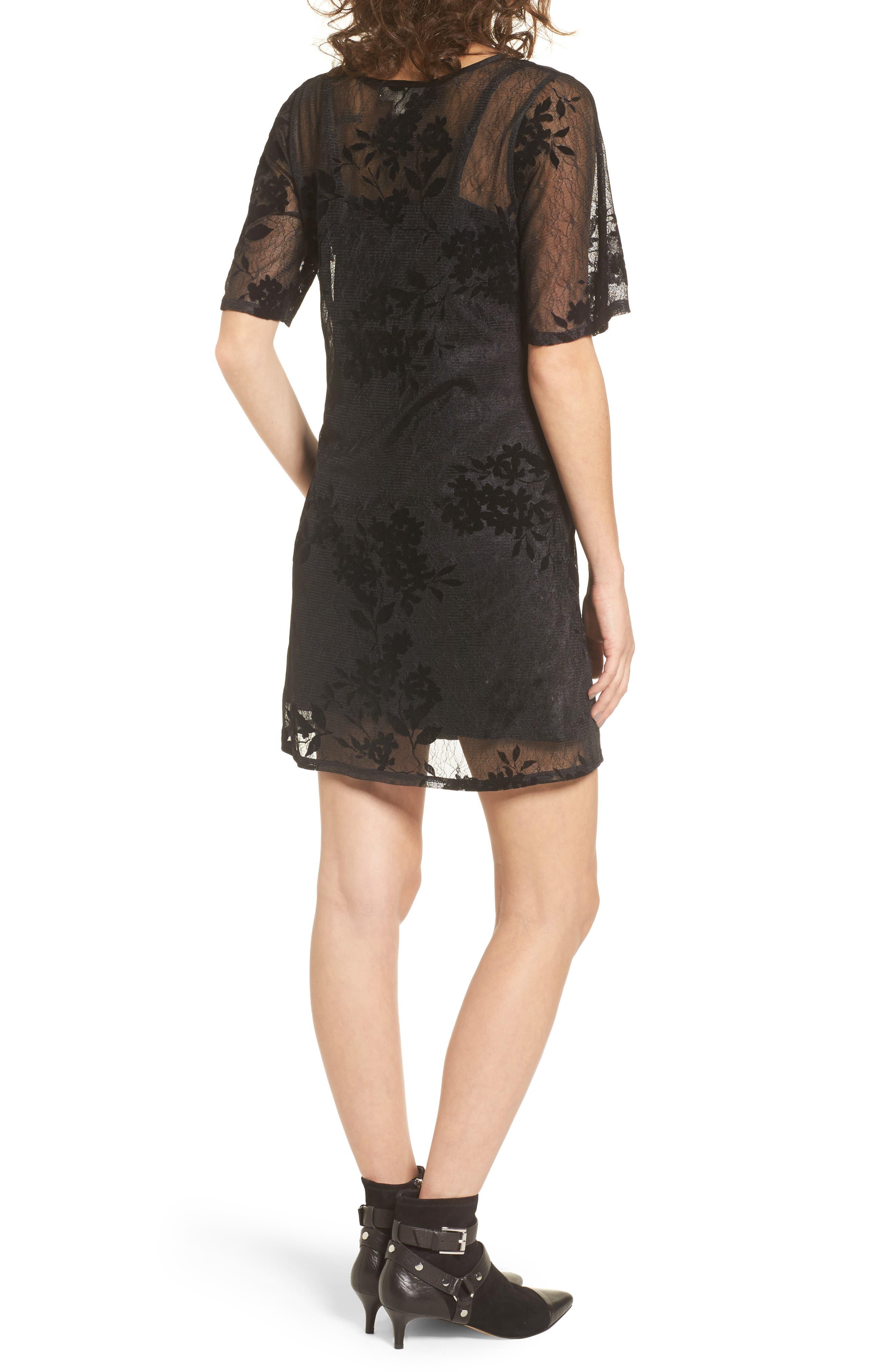 Flocked Lace A-Line Dress,                             Alternate thumbnail 2, color,                             Black Lace