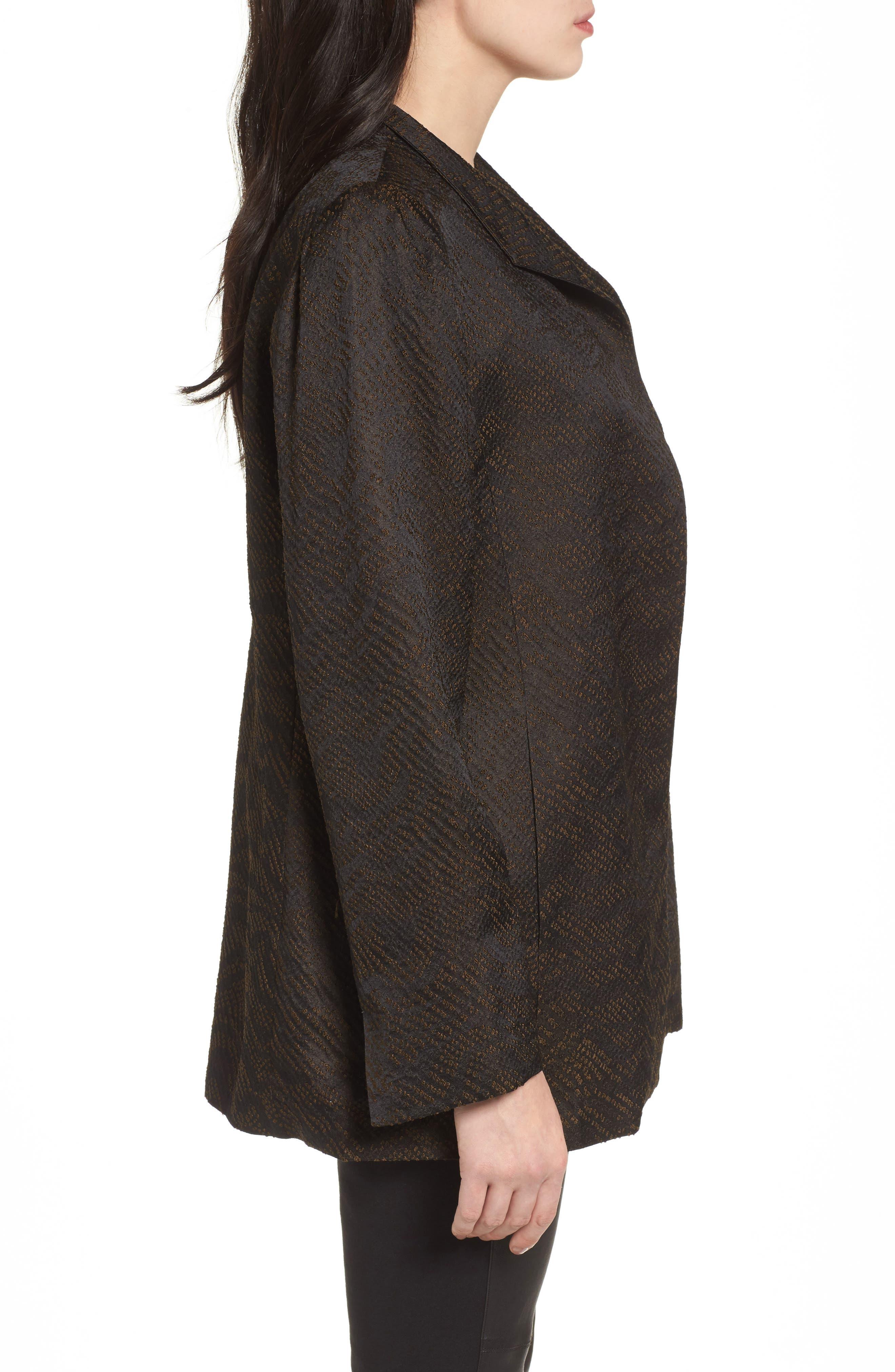 Silk Blend Jacquard Jacket,                             Alternate thumbnail 3, color,                             Black
