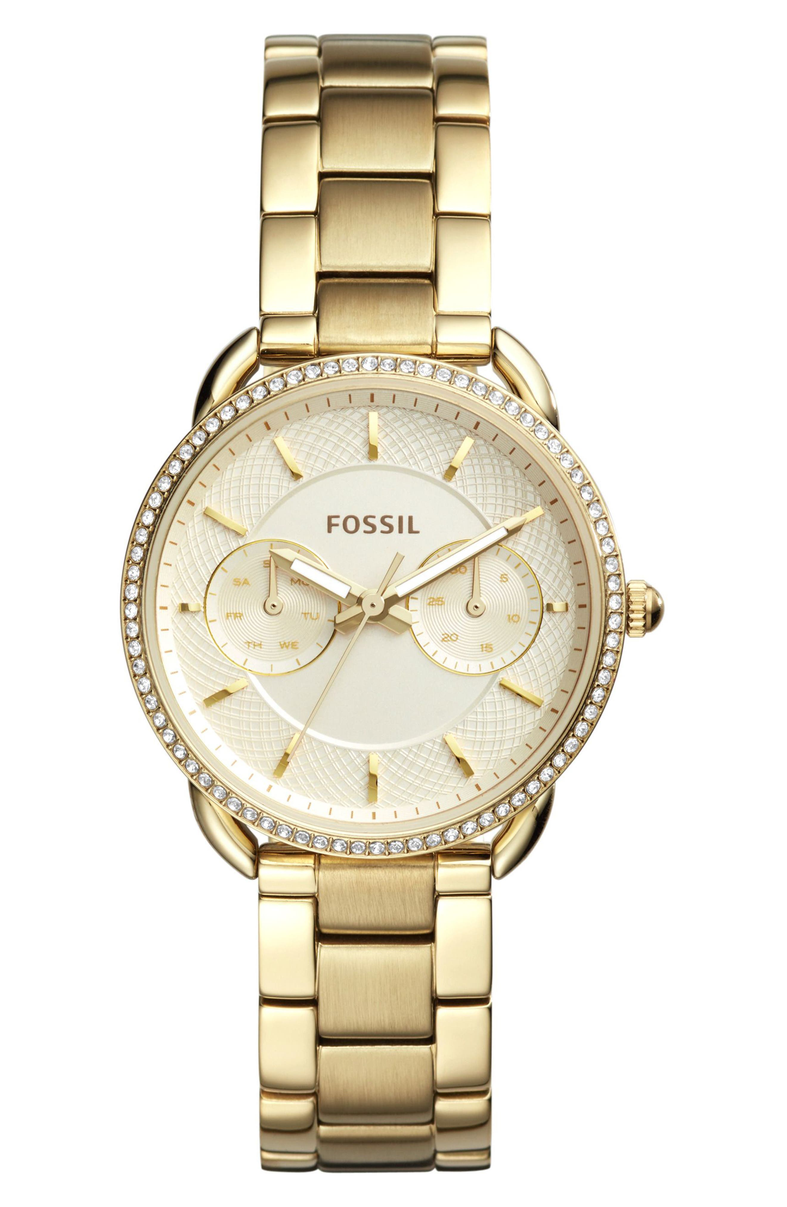 Tailor Crystal Multifunction Bracelet Watch, 35mm,                             Main thumbnail 1, color,                             Gold