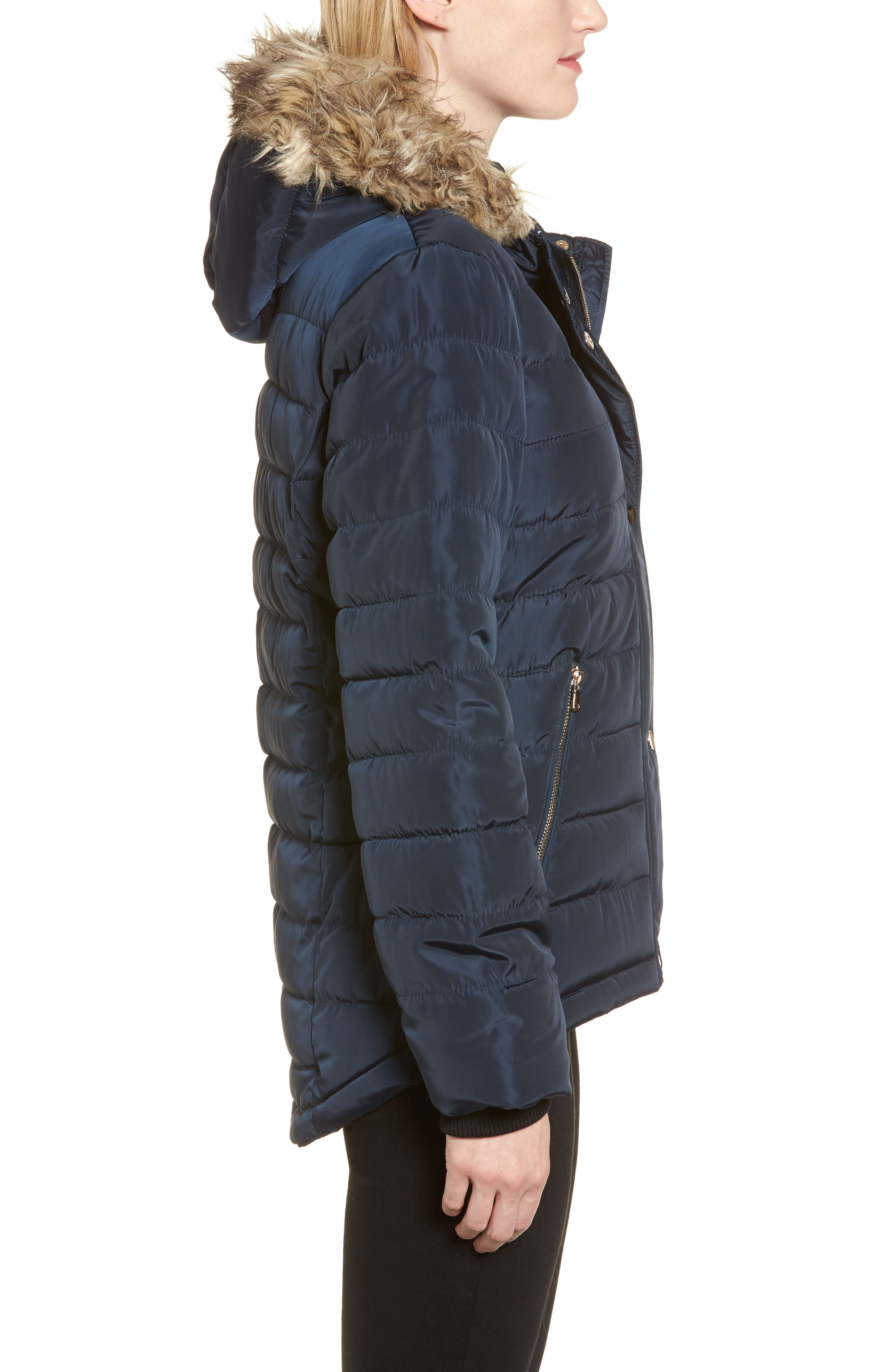 Faux Fur Trim Hooded Puffer Jacket,                             Alternate thumbnail 3, color,                             Navy