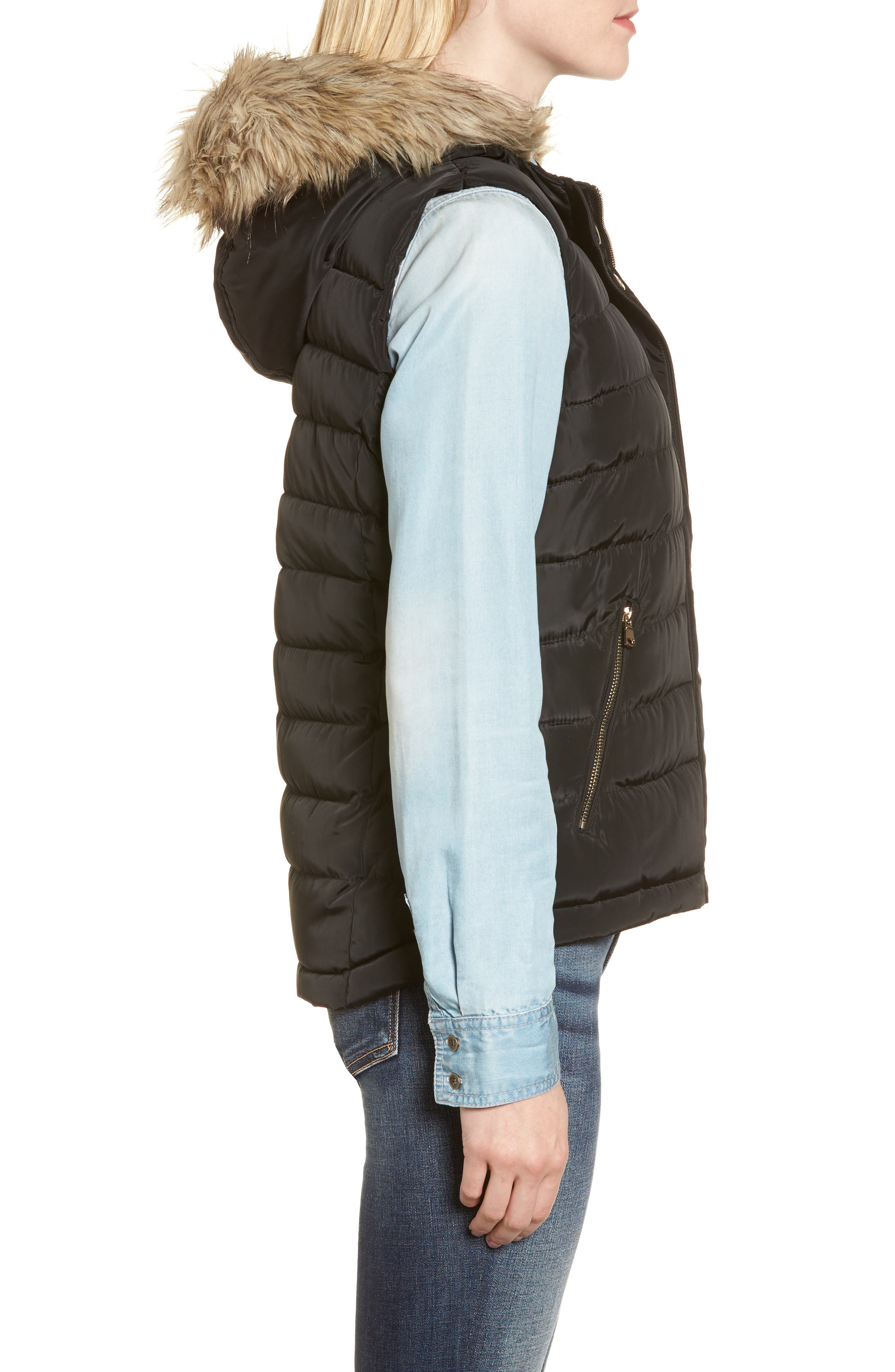 Faux Fur Trim Hooded Quilted Vest,                             Alternate thumbnail 3, color,                             Black