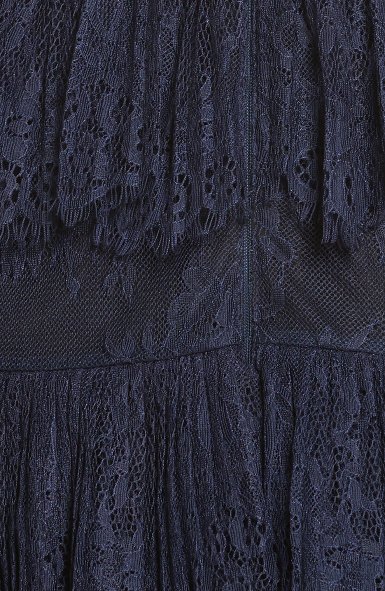 Pleated Lace Dress,                             Alternate thumbnail 5, color,                             Dark Blue