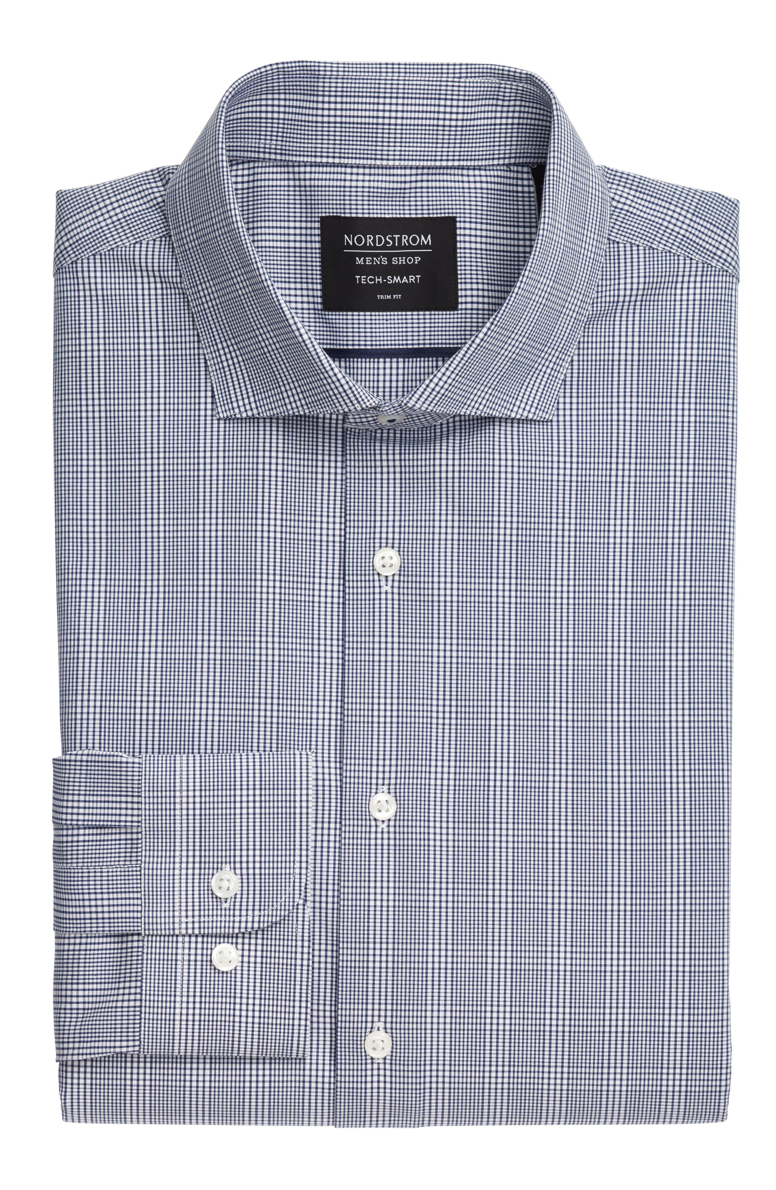 Tech-Smart Trim Fit Stretch Plaid Dress Shirt,                             Alternate thumbnail 5, color,                             Blue Twilight