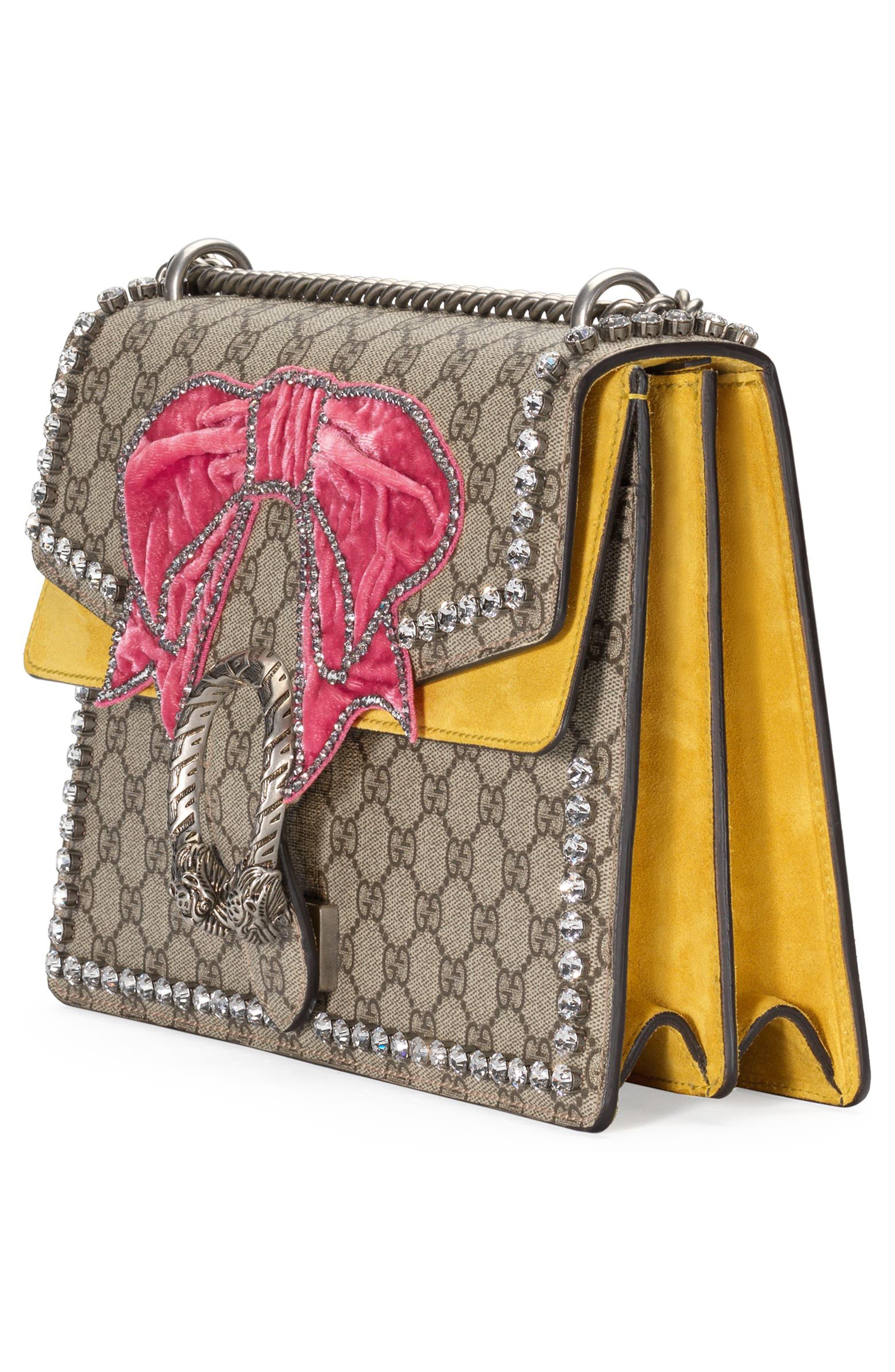 Medium Dionysus GG Supreme Canvas Shoulder Bag,                             Alternate thumbnail 4, color,                             Beige Ebony Crystal