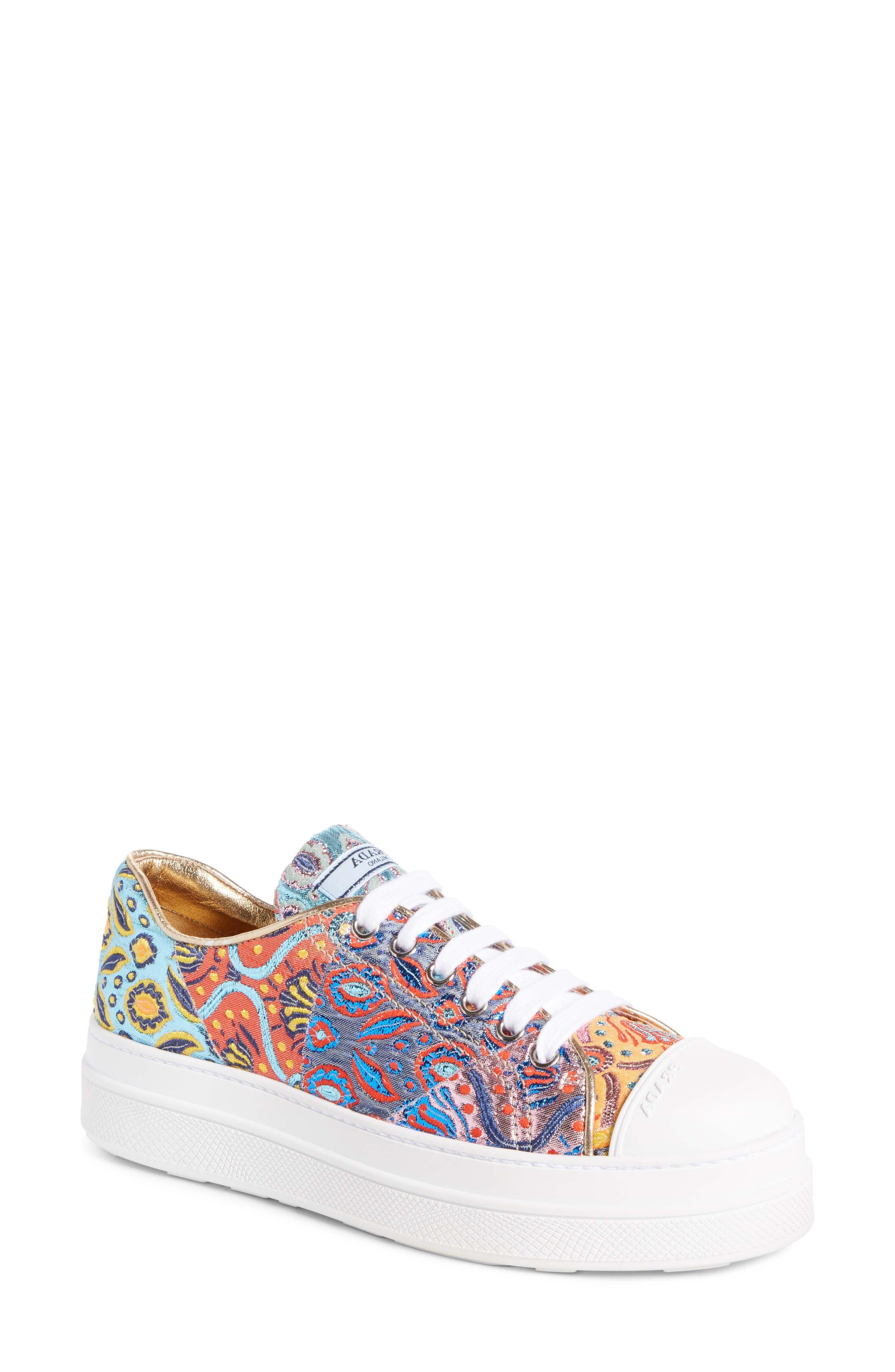 Prada Patchwork Embroidered Platform Sneaker (Women)