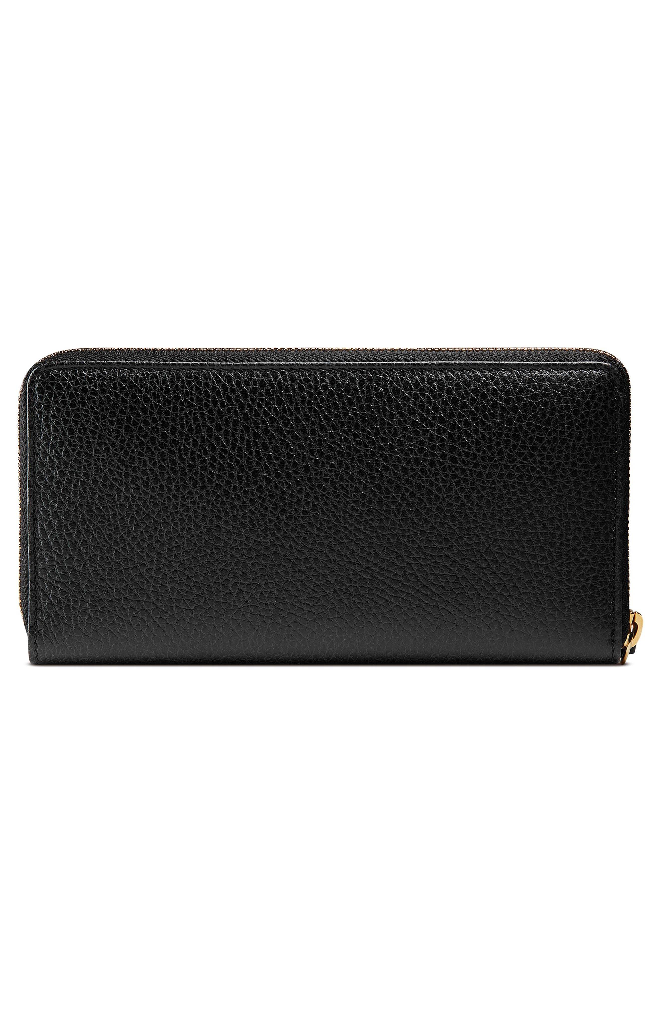 Petite Marmont Leather Zip Around Wallet,                             Alternate thumbnail 3, color,                             Nero/ Nero