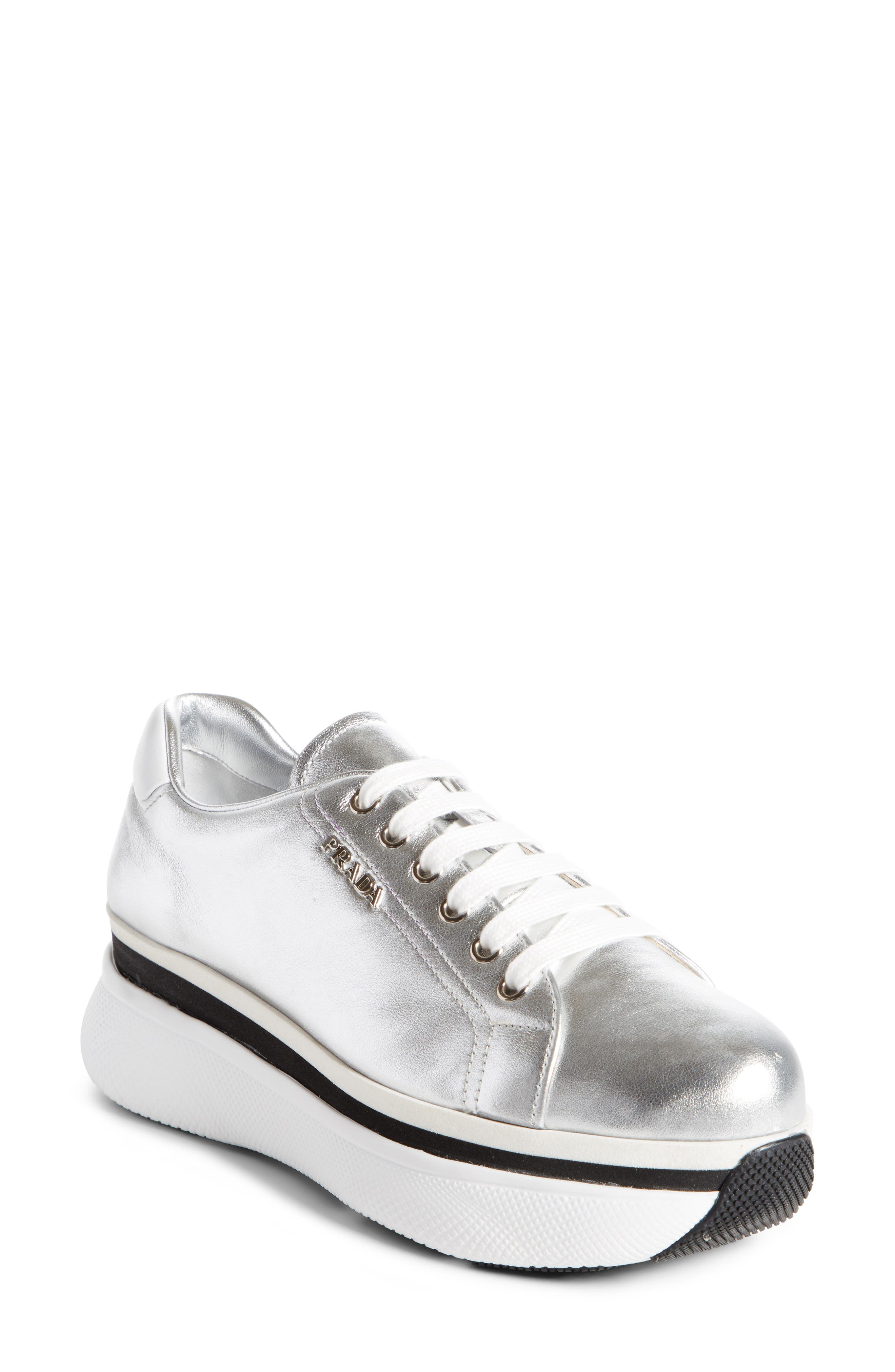 Platform Lace-Up Sneaker,                         Main,                         color, Silver