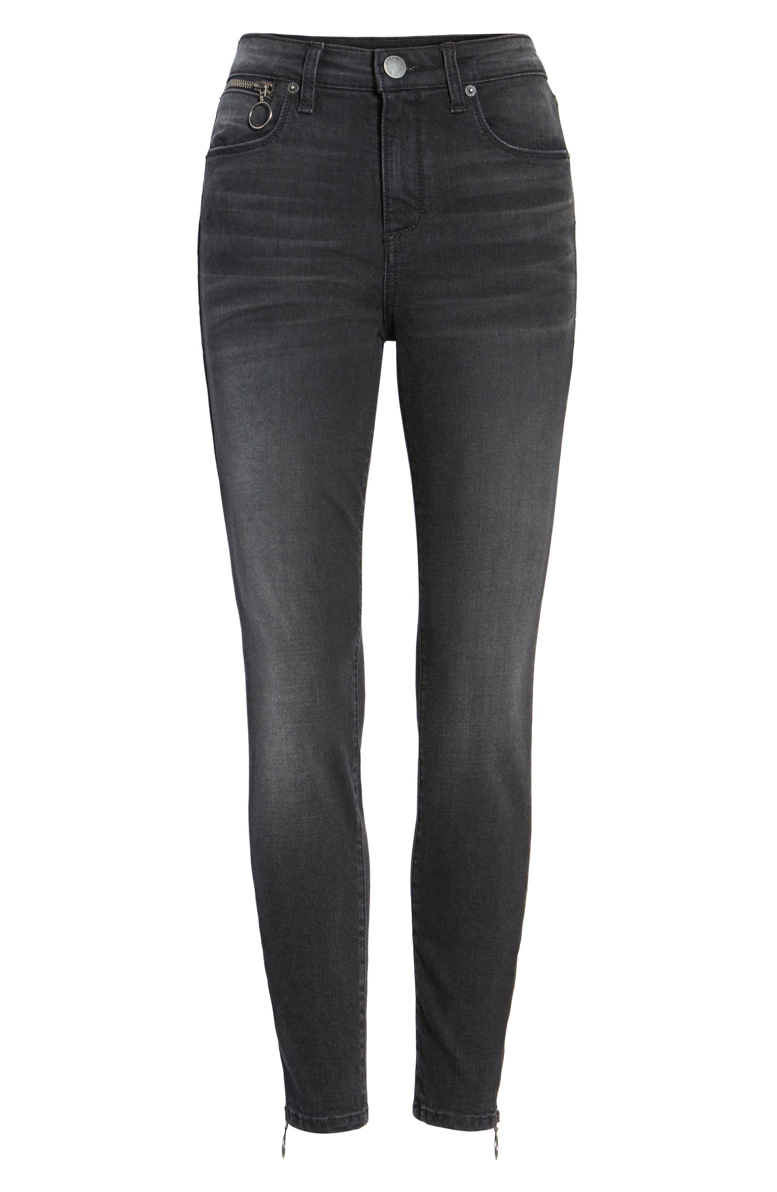Ashley Zip Detail High Waist Skinny Jeans,                             Alternate thumbnail 6, color,                             Wilshire