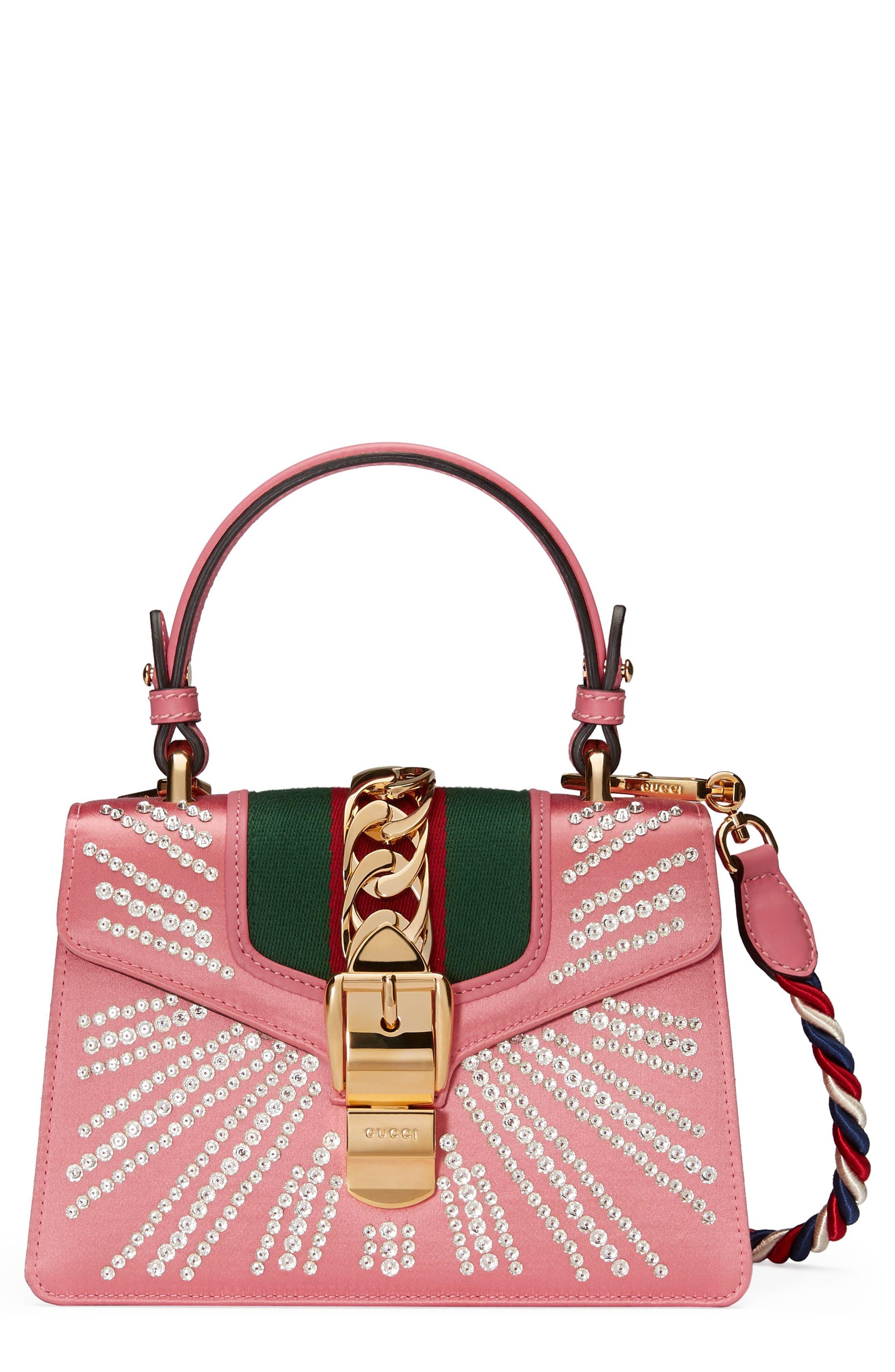 Mini Sylvie Crystal Burst Top Handle Leather Shoulder Bag,                             Main thumbnail 1, color,                             Peony/ Crystal/ Mystic White