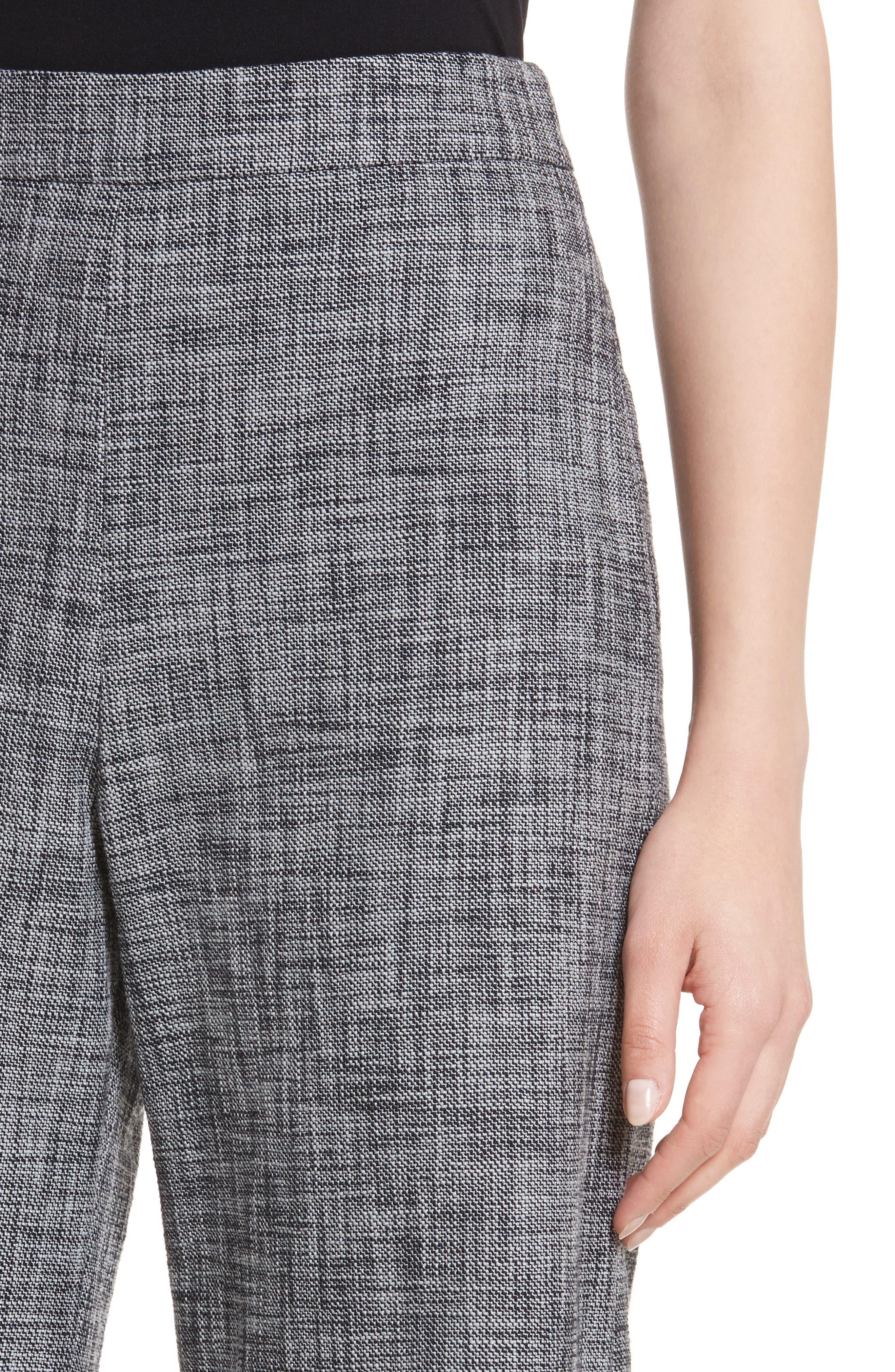 Slub Crop Suit Pants,                             Alternate thumbnail 4, color,                             Grey/ Black Combo