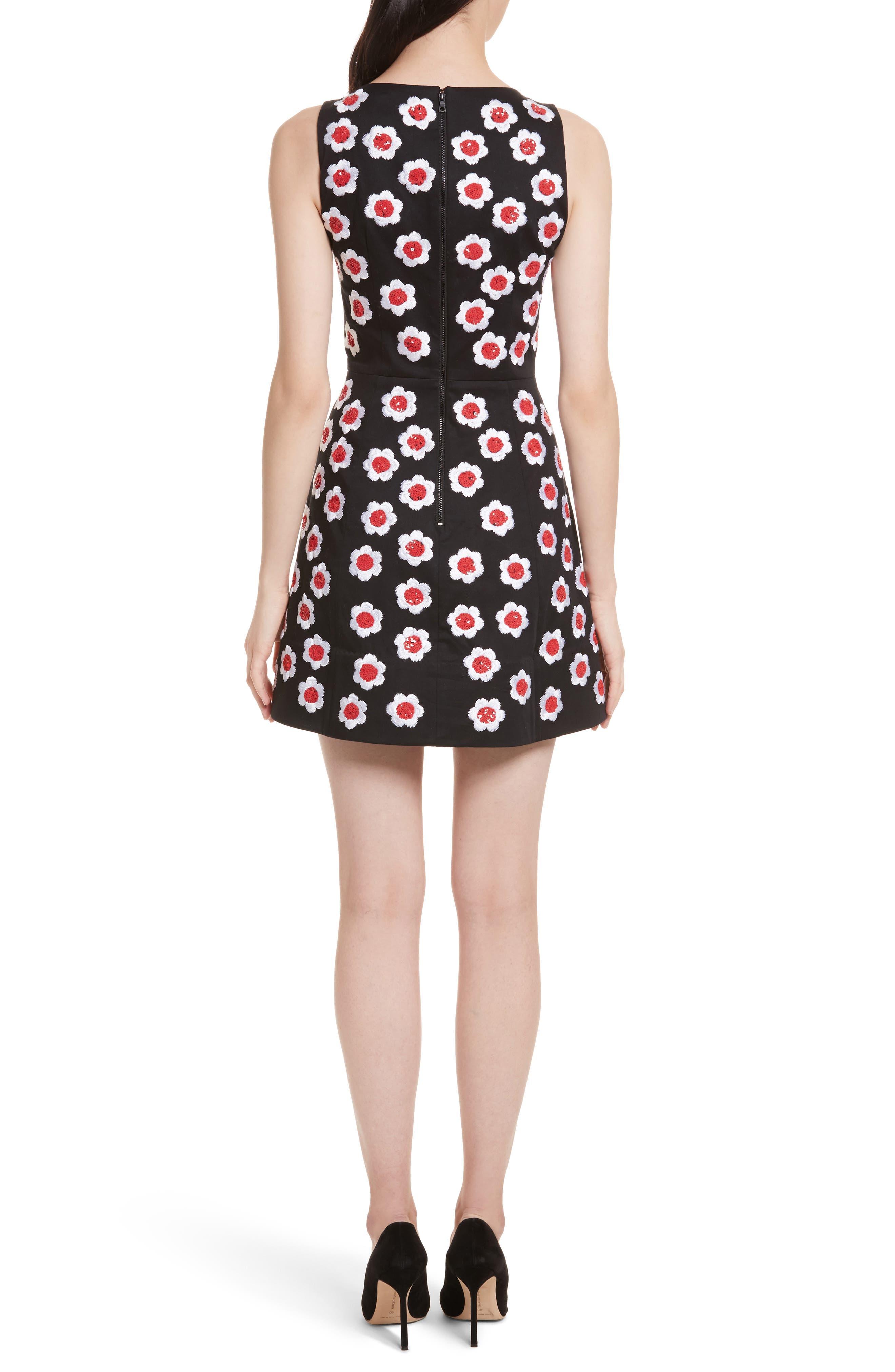 Lindsey Embroidered A-Line Dress,                             Alternate thumbnail 2, color,                             Black/ Multi