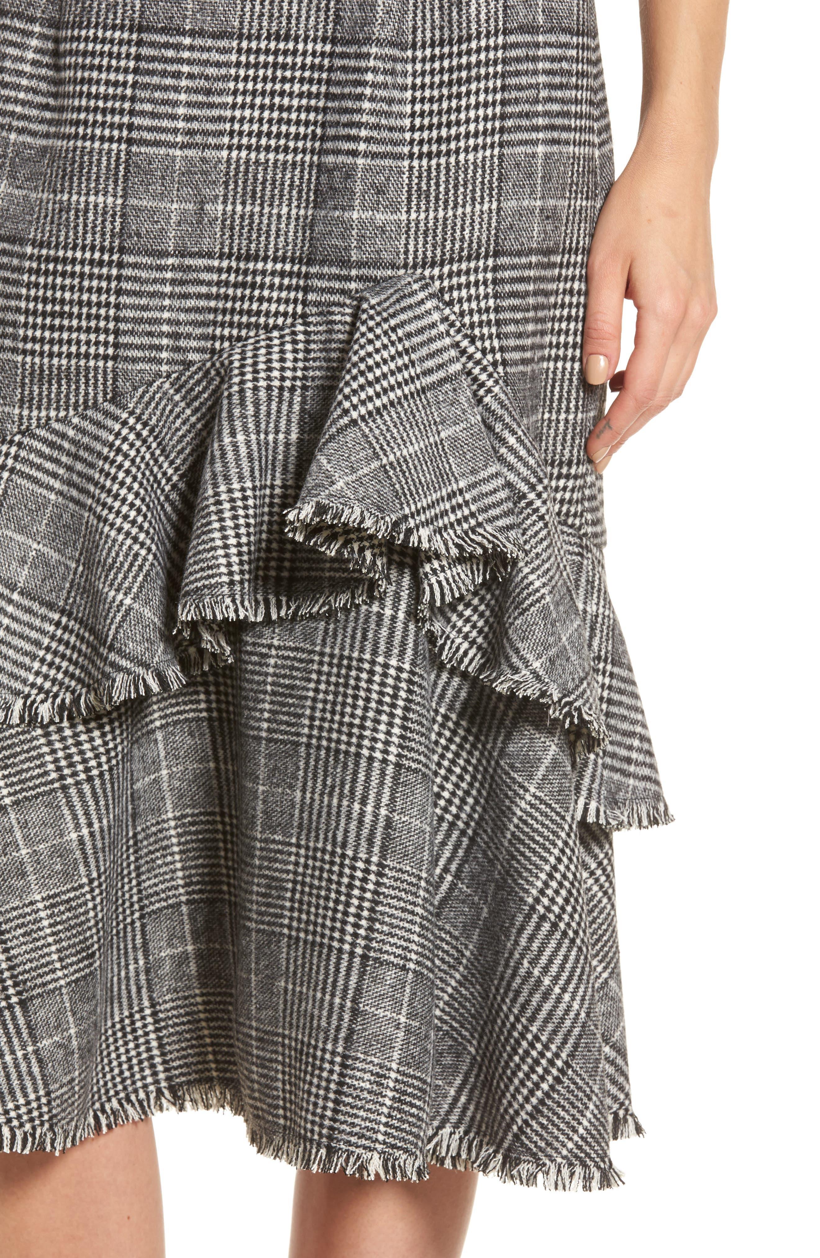 Alternate Image 4  - Halogen® Ruffle Plaid Skirt