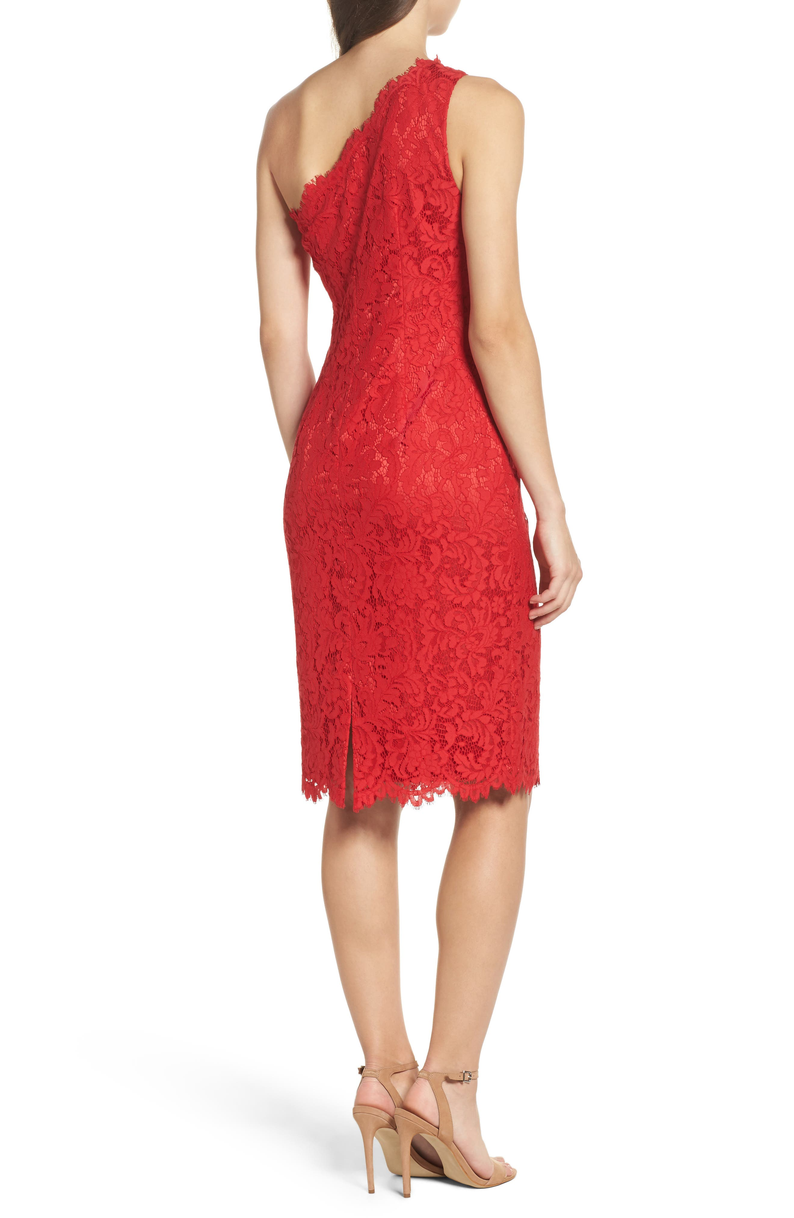 Alternate Image 2  - Eliza J One-Shoulder Lace Dress (Regular & Petite)