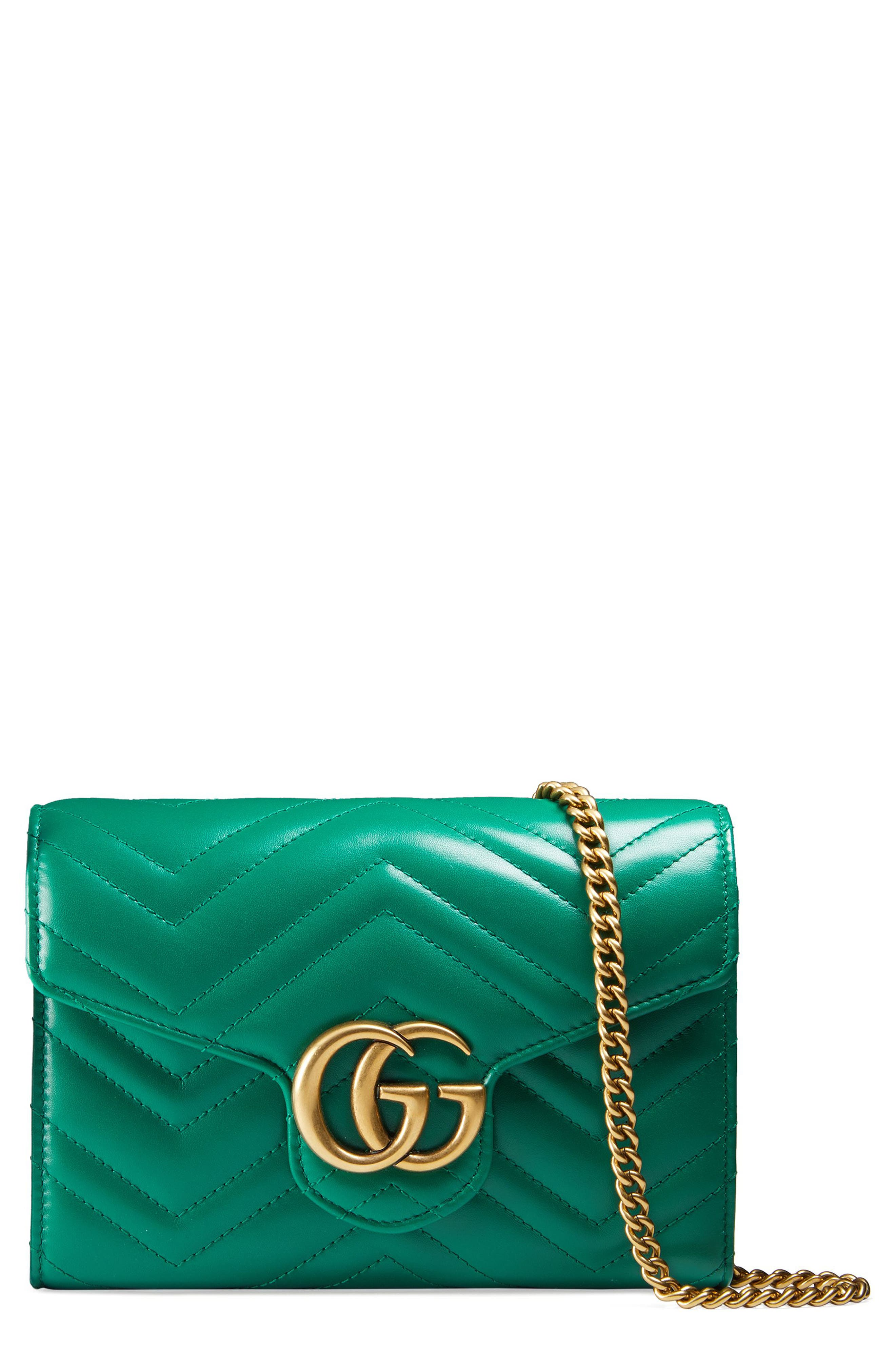 Alternate Image 1 Selected - Gucci GG Marmont Matelassé Leather Wallet on a Chain