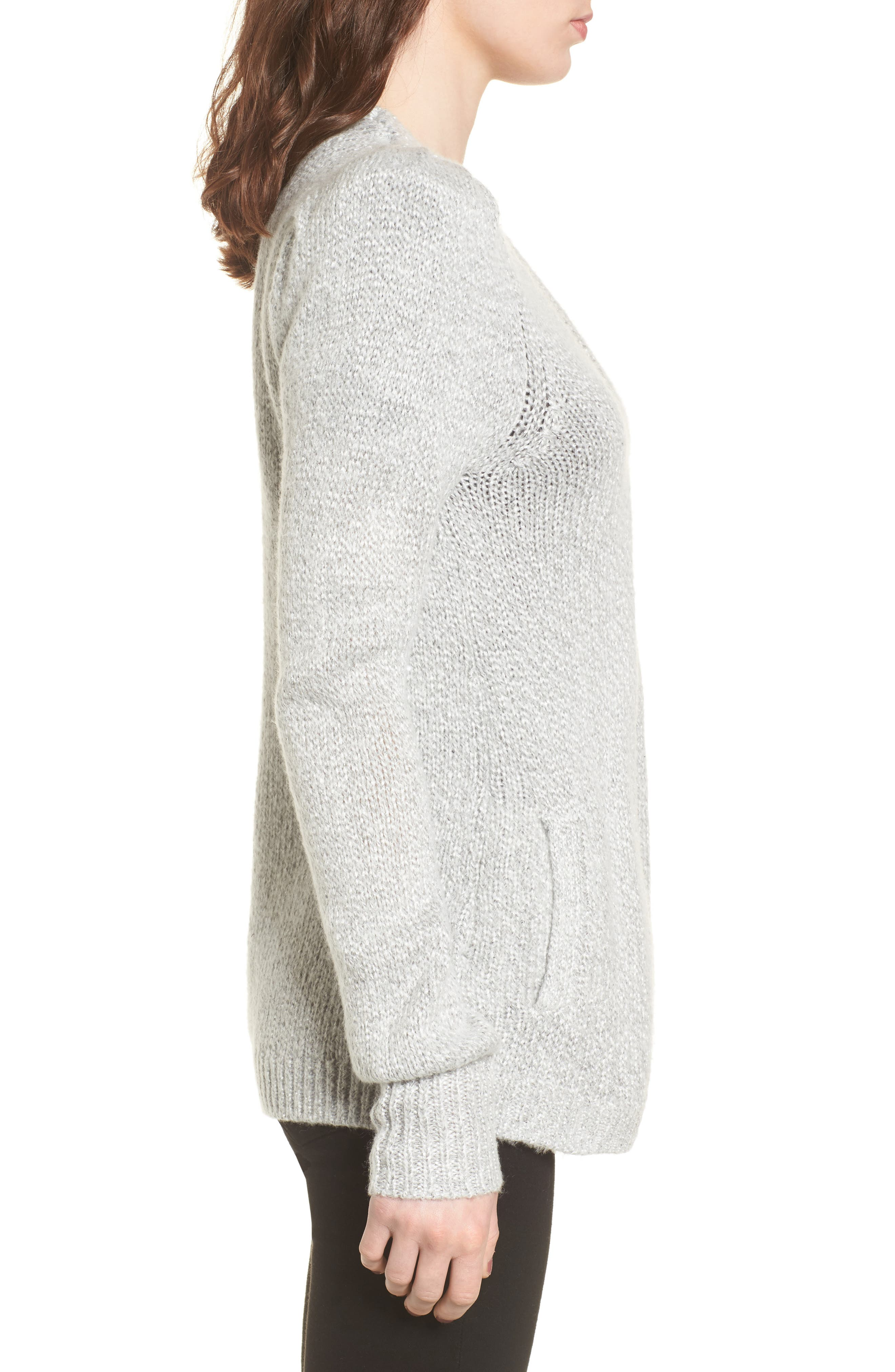 Shine Cardigan Sweater,                             Alternate thumbnail 3, color,                             Grey Light Heather Combo