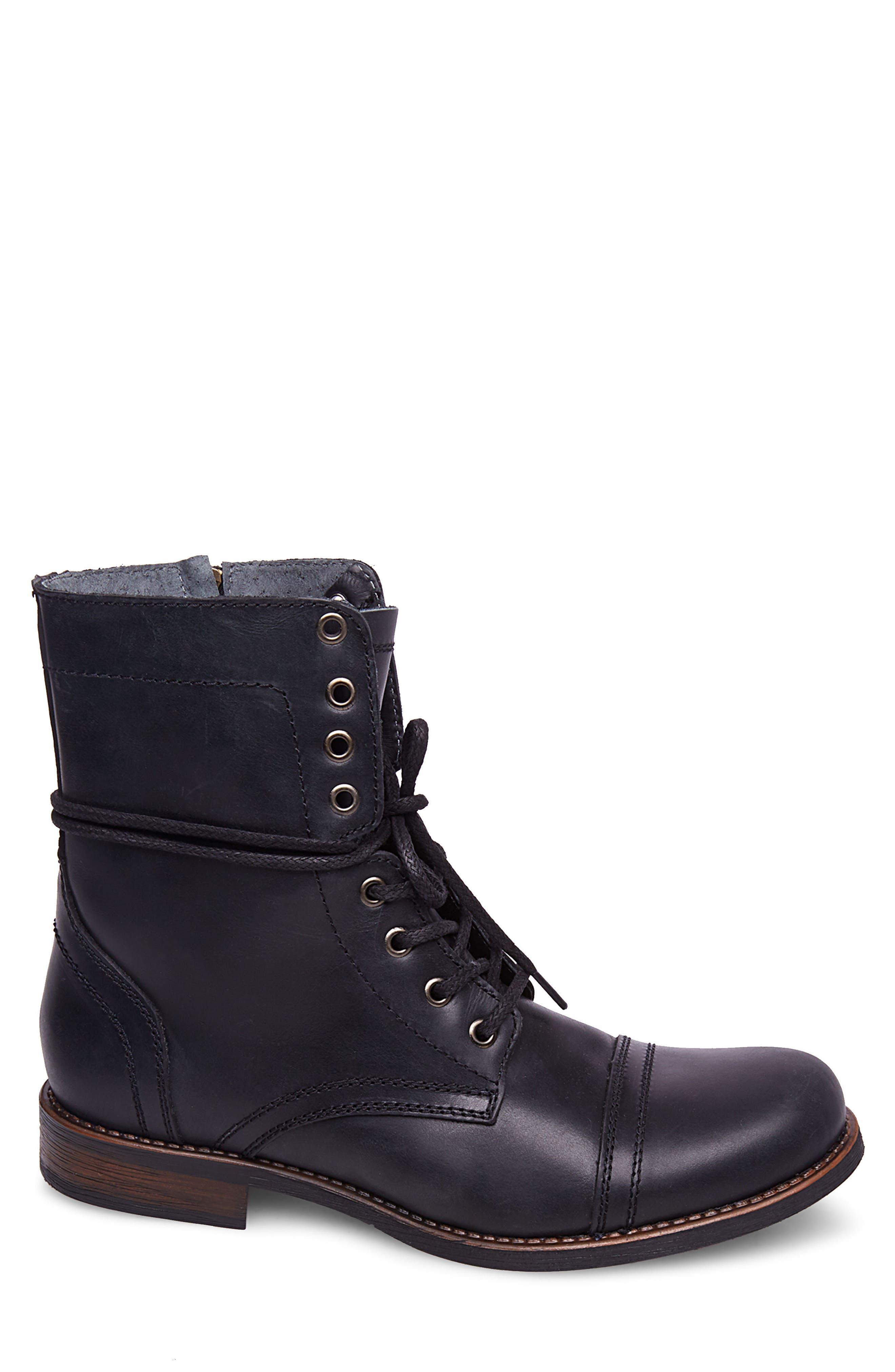 Troopah-C Cap Toe Boot,                             Alternate thumbnail 3, color,                             Black Leather