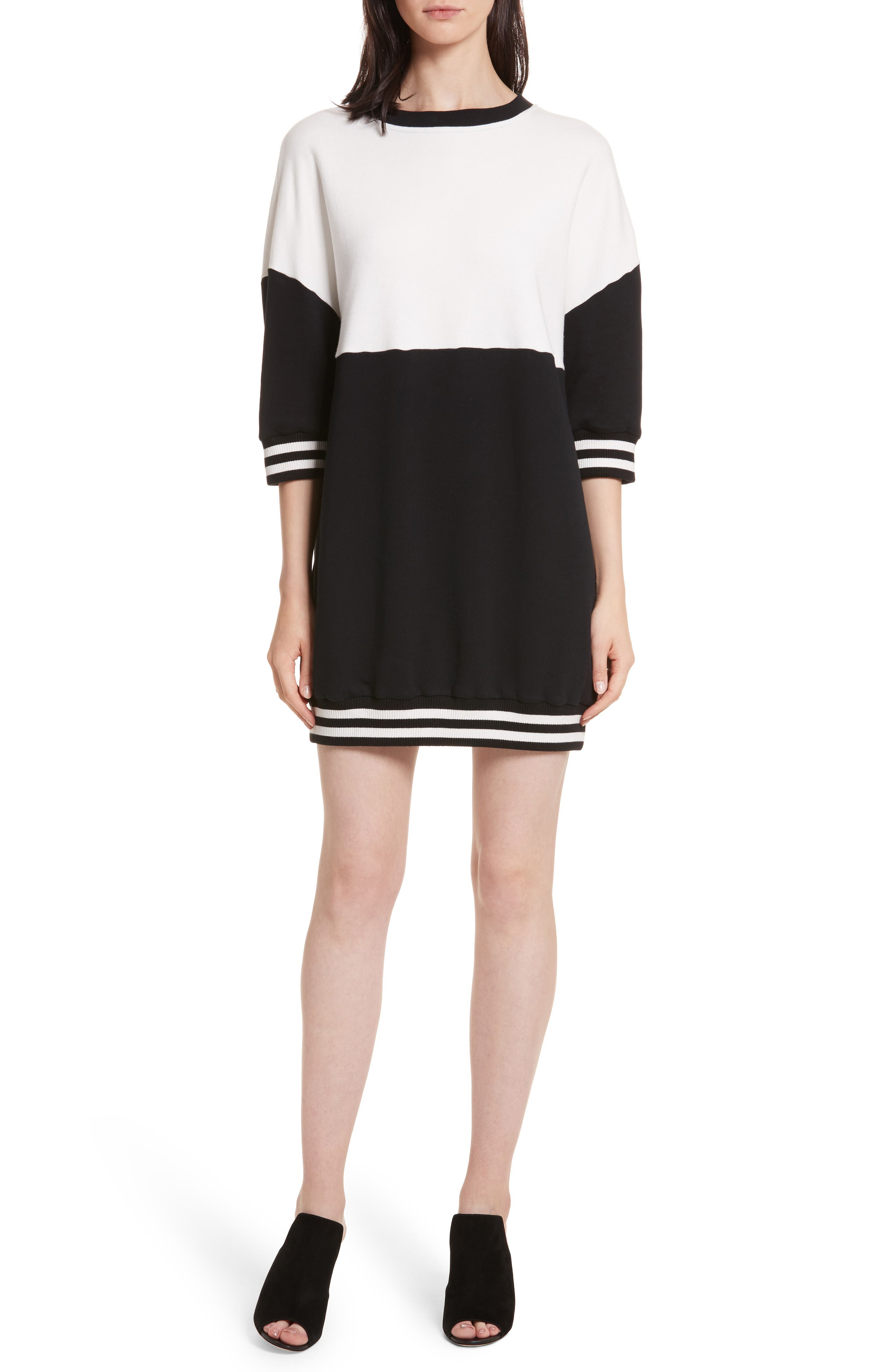 Gussie Colorblock Sweatshirt Dress,                             Main thumbnail 1, color,                             Black/ Off White