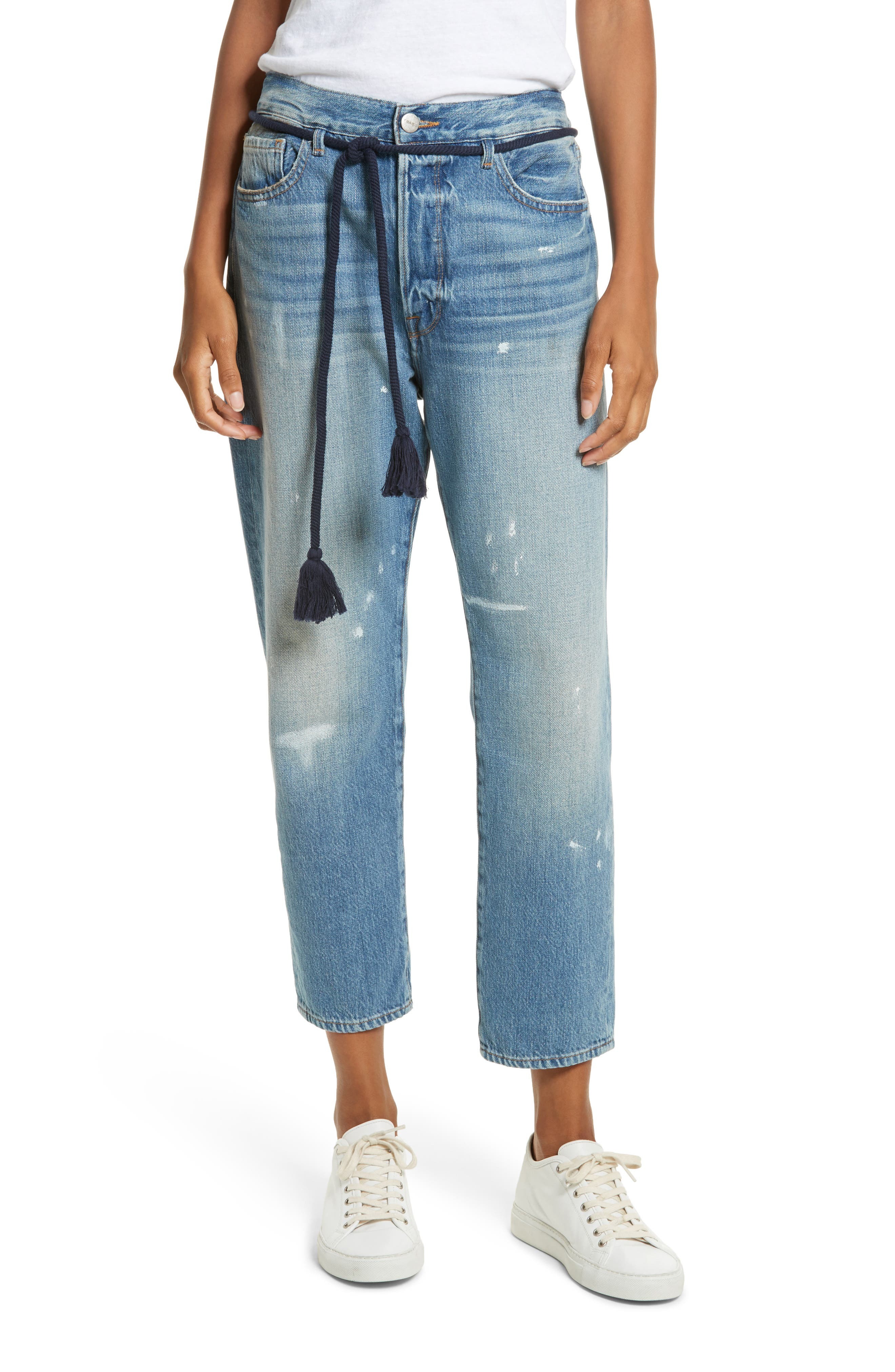 Le Original Tassel Tie High Waist Jeans,                             Main thumbnail 1, color,                             Bowman