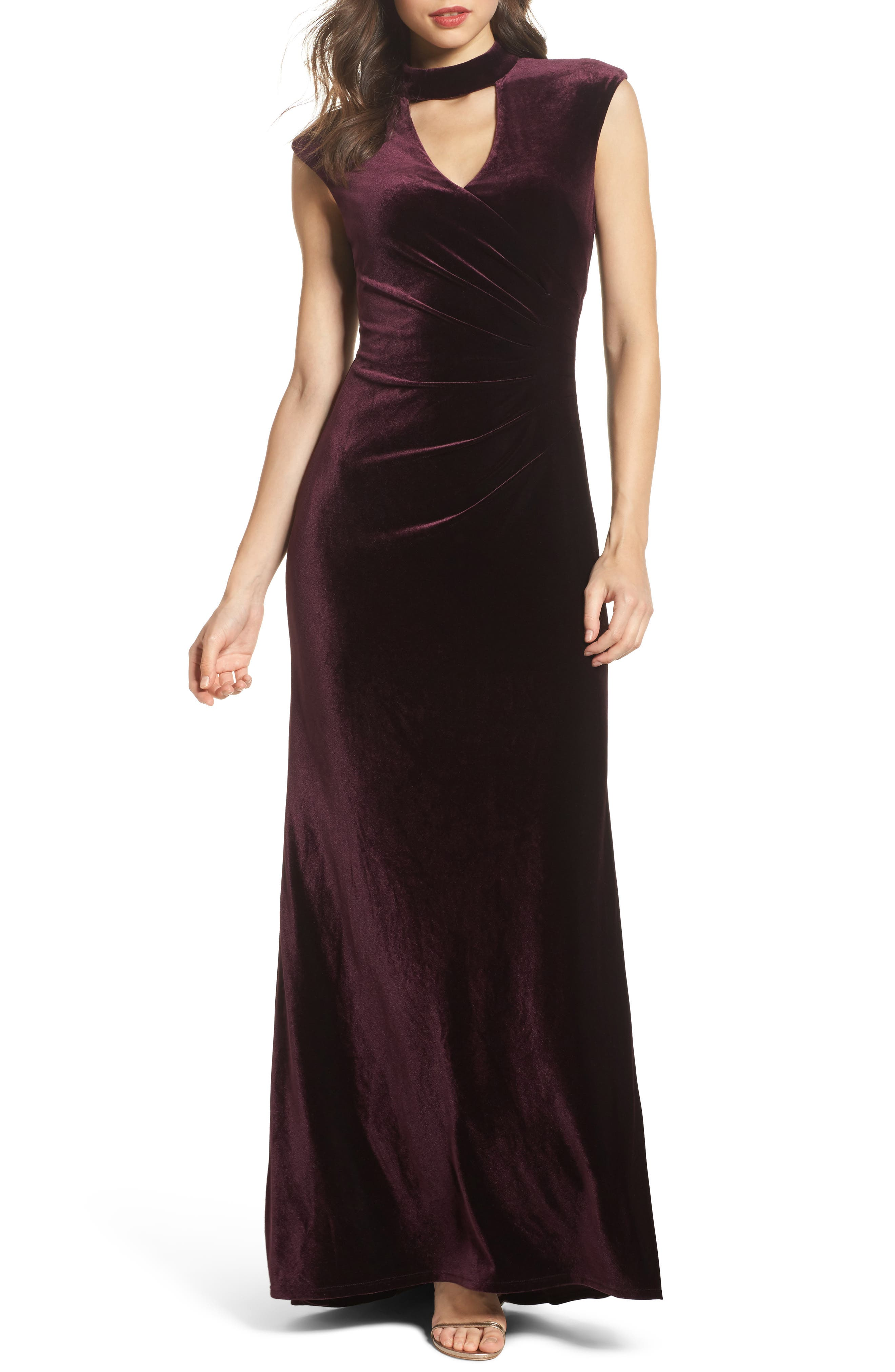 Side Pleated Velvet Choker Gown,                         Main,                         color, Maroon