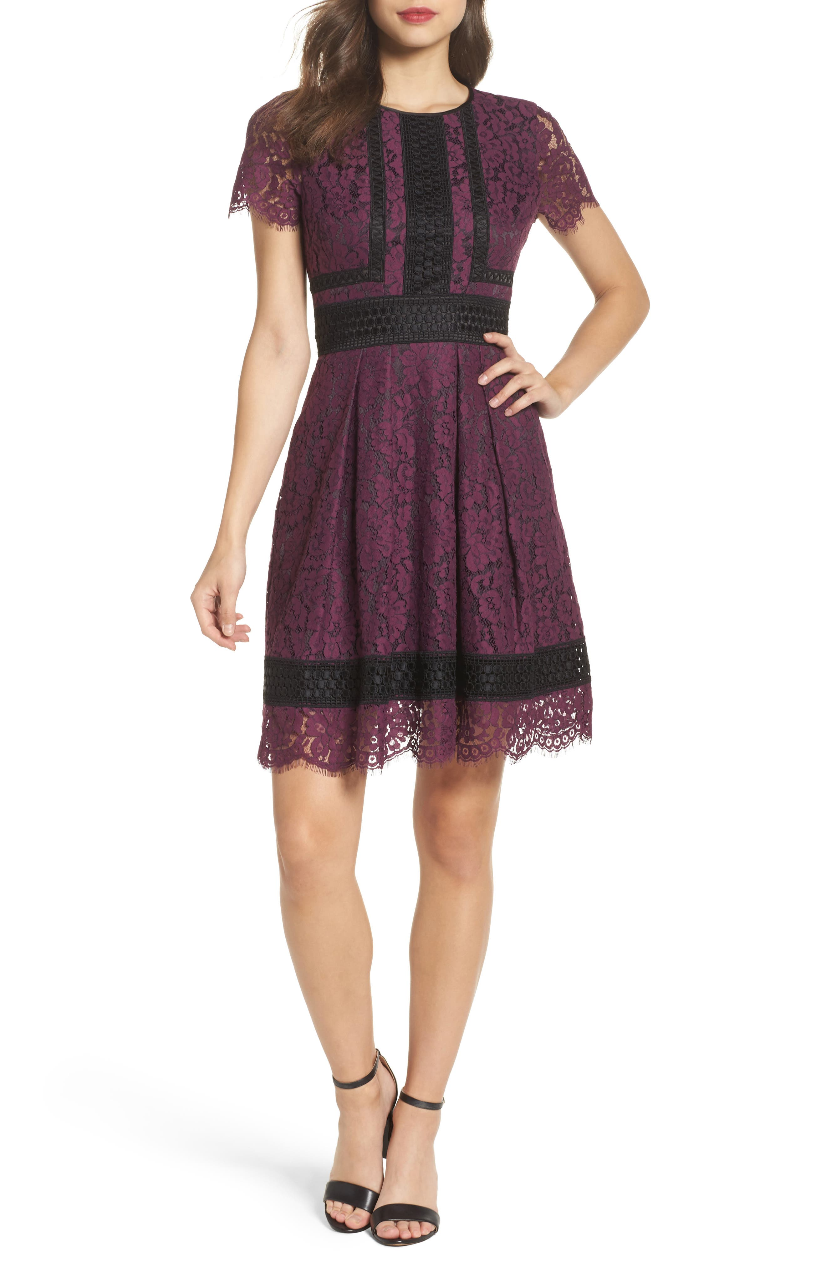 Lace Fit & Flare Dress,                             Main thumbnail 1, color,                             Raisin