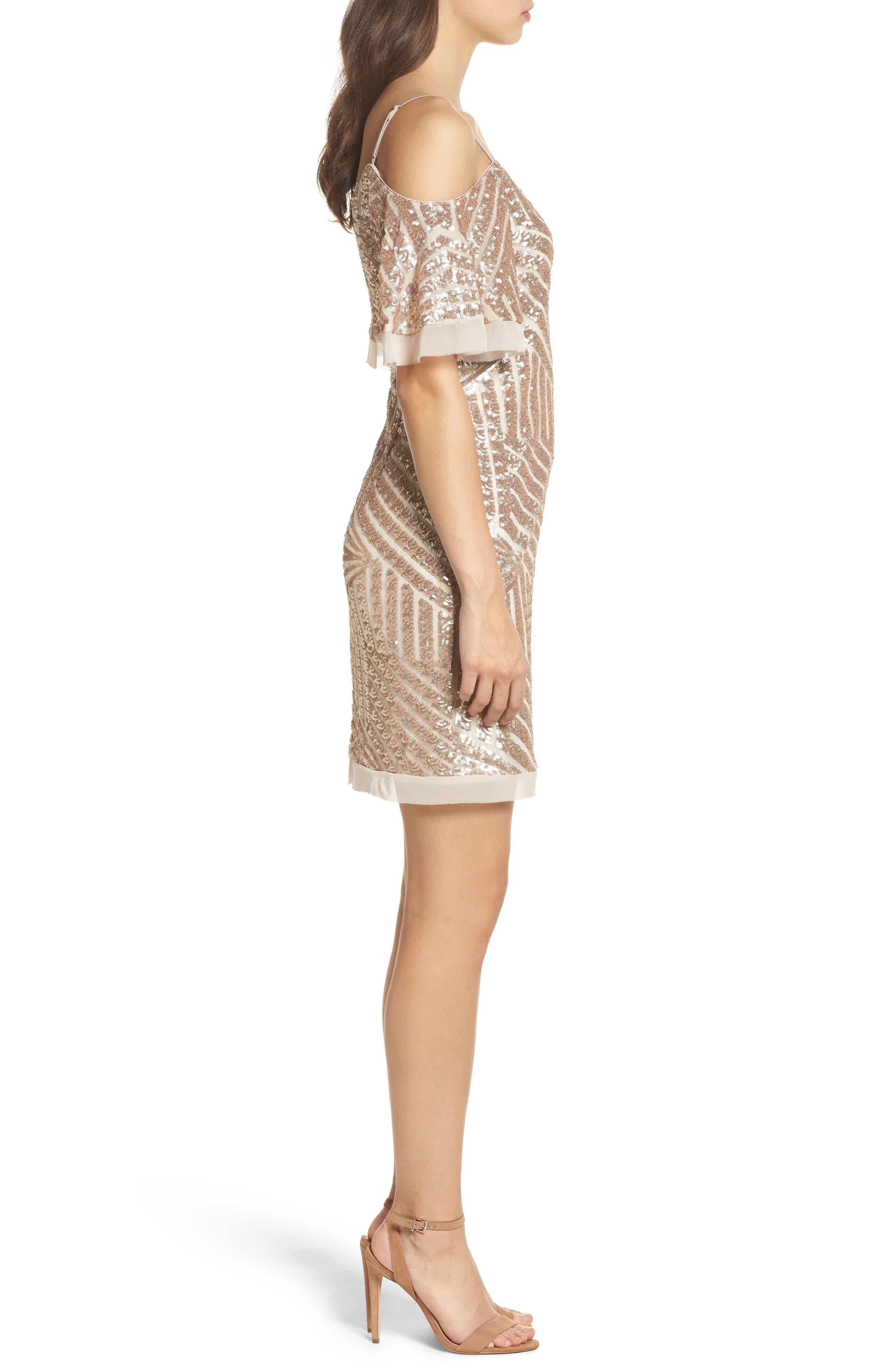Sequin Cold Shoulder Dress,                             Alternate thumbnail 3, color,                             Champagne