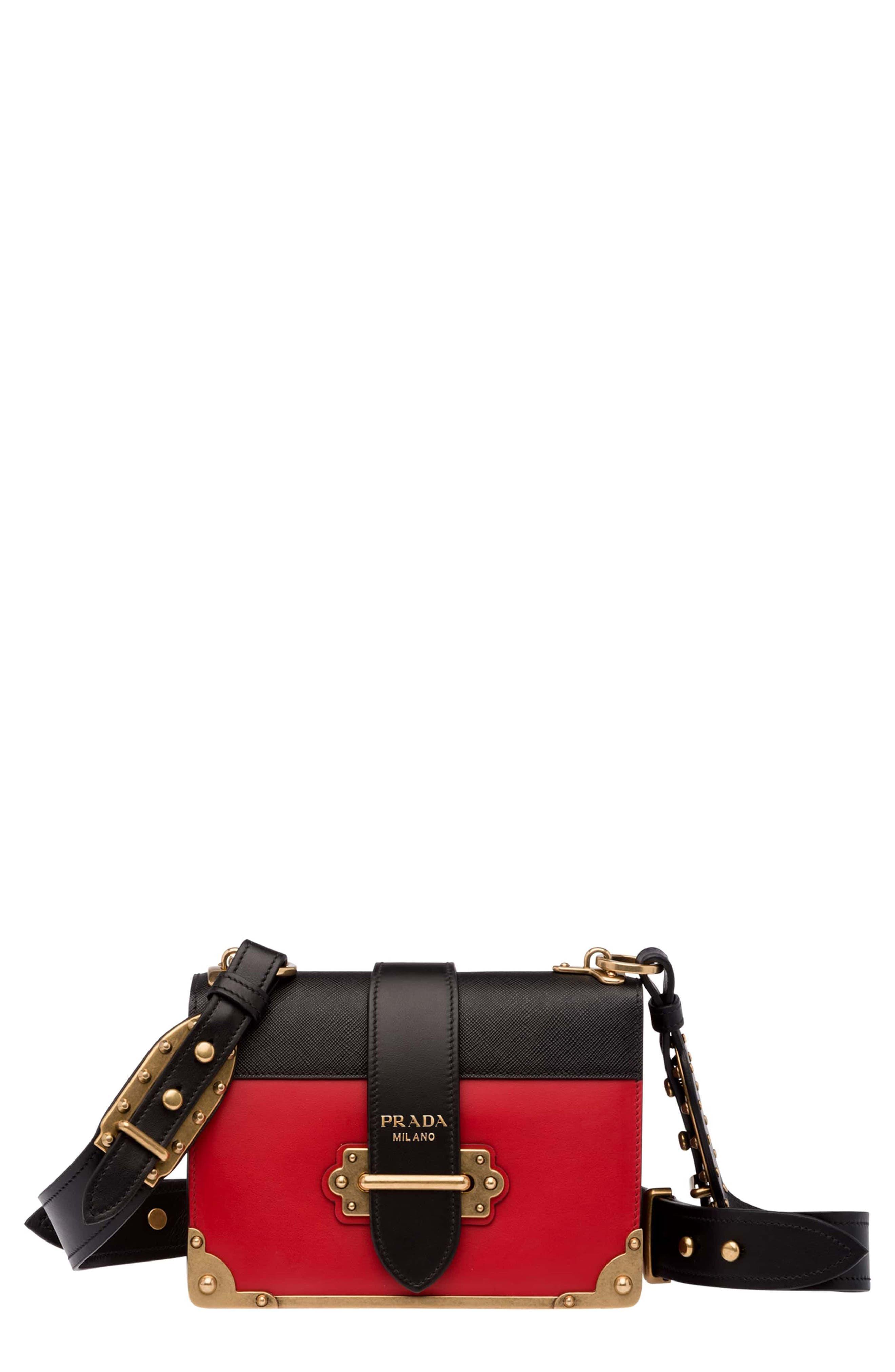 Prada Cahier City Calfskin & Saffiano Shoulder Bag