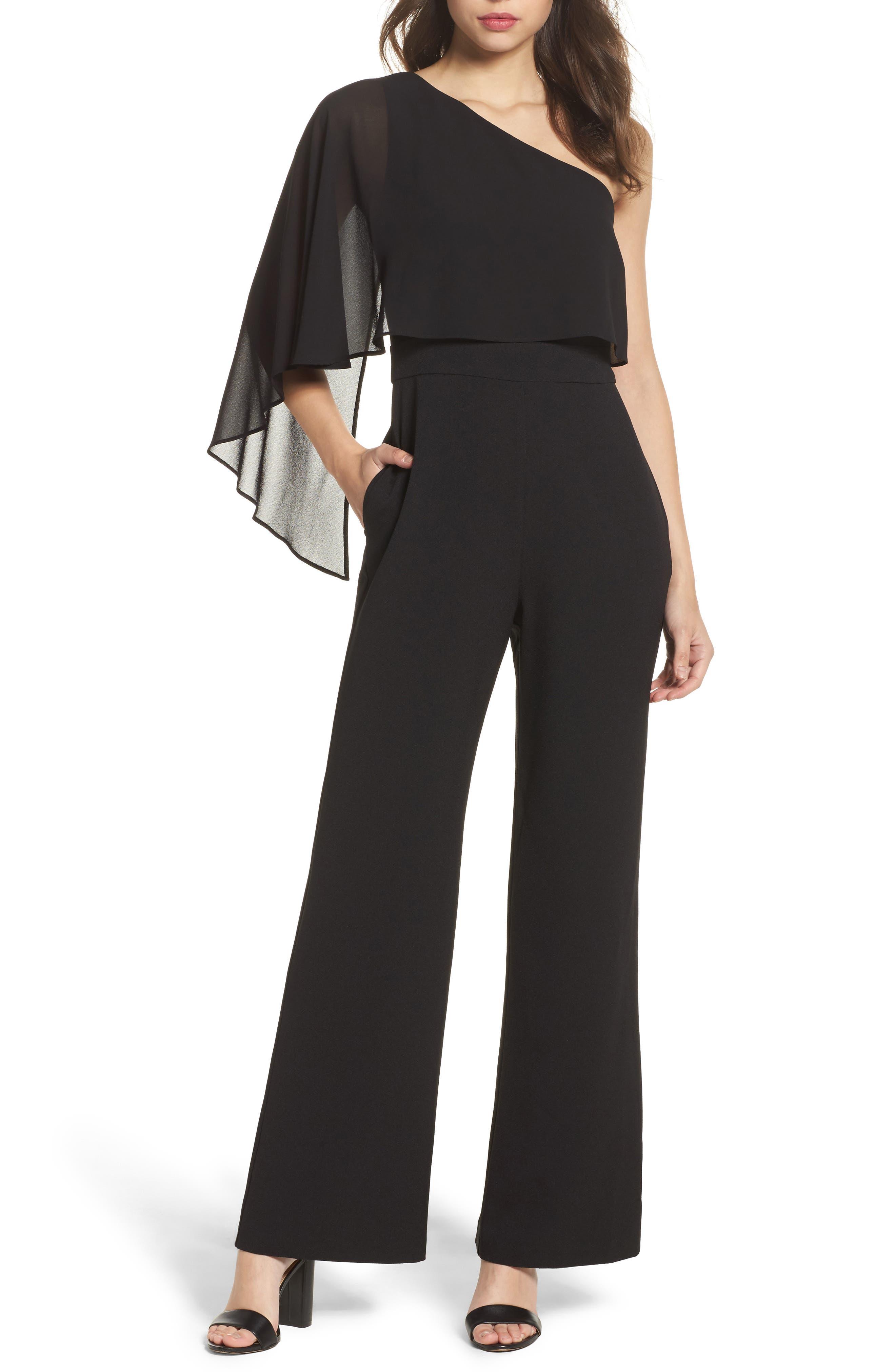 Cape Overlay One-Shoulder Jumpsuit,                         Main,                         color, Black