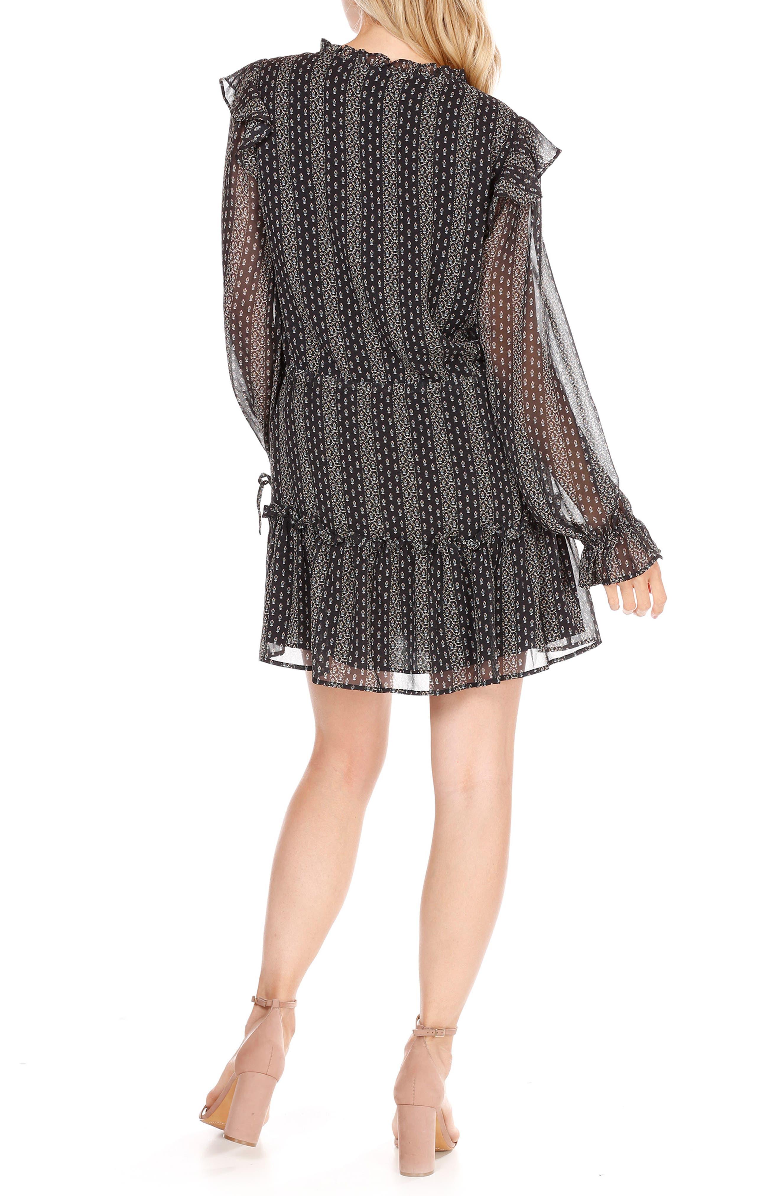 Pomello Silk Blouson Dress,                             Alternate thumbnail 2, color,                             Black Multi Mini Palace Garden